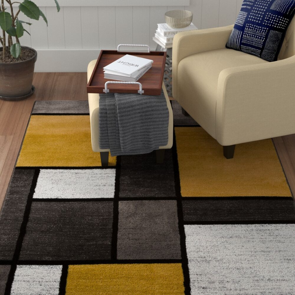 Persons Contemporary Modern Boxes Lime Yellow Area Rug Rug Size: Rectangle 9' x 12'
