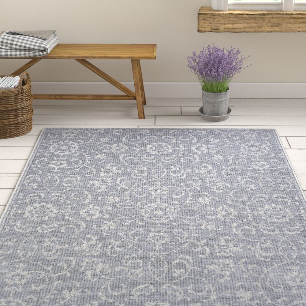 Kraatz Vines Dark Gray/Ivory Indoor/Outdoor Area Rug Rug Size: Rectangle 7'6