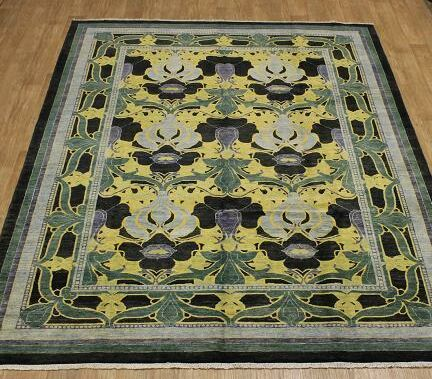 One-of-a-Kind Melanie Oriental Hand-Knotted Wool Black/Yellow Area Rug