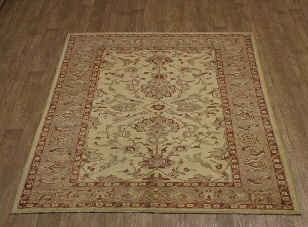 One-of-a-Kind Bradcliff Chobi Oriental Hand-Knotted Wool Red/Cream Area Rug