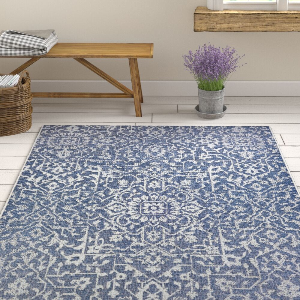 Kraatz Palmette Navy Blue/Ivory Indoor/Outdoor Area Rug Rug Size: Rectangle 7'6