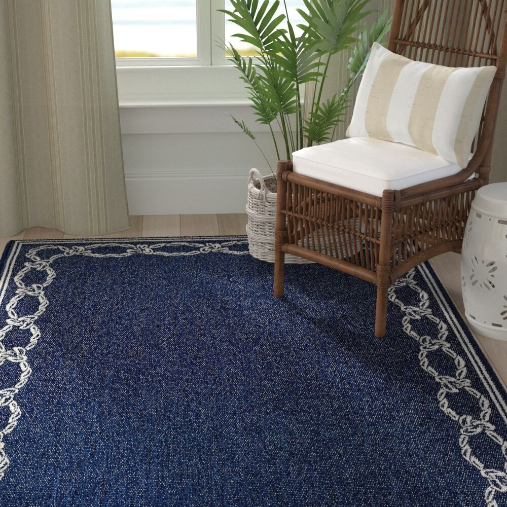 Dillow Rope Knot Blue Indoor/Outdoor Area Rug Rug Size: Rectangle 7'6