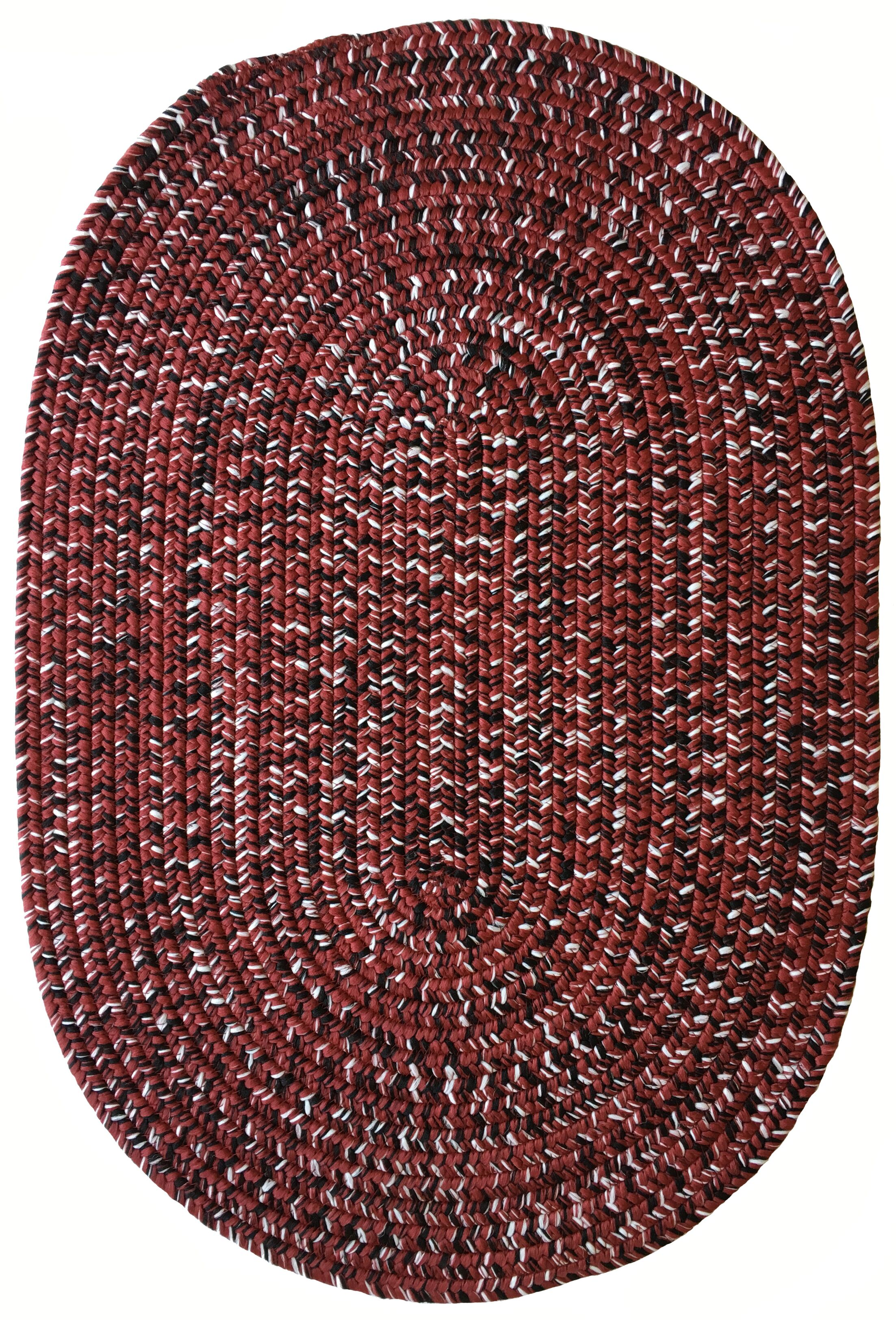 One-of-a-Kind Aukerman Hand-Braided Burgundy Indoor/Outdoor Area Rug Rug Size: Oval 5' x 8'