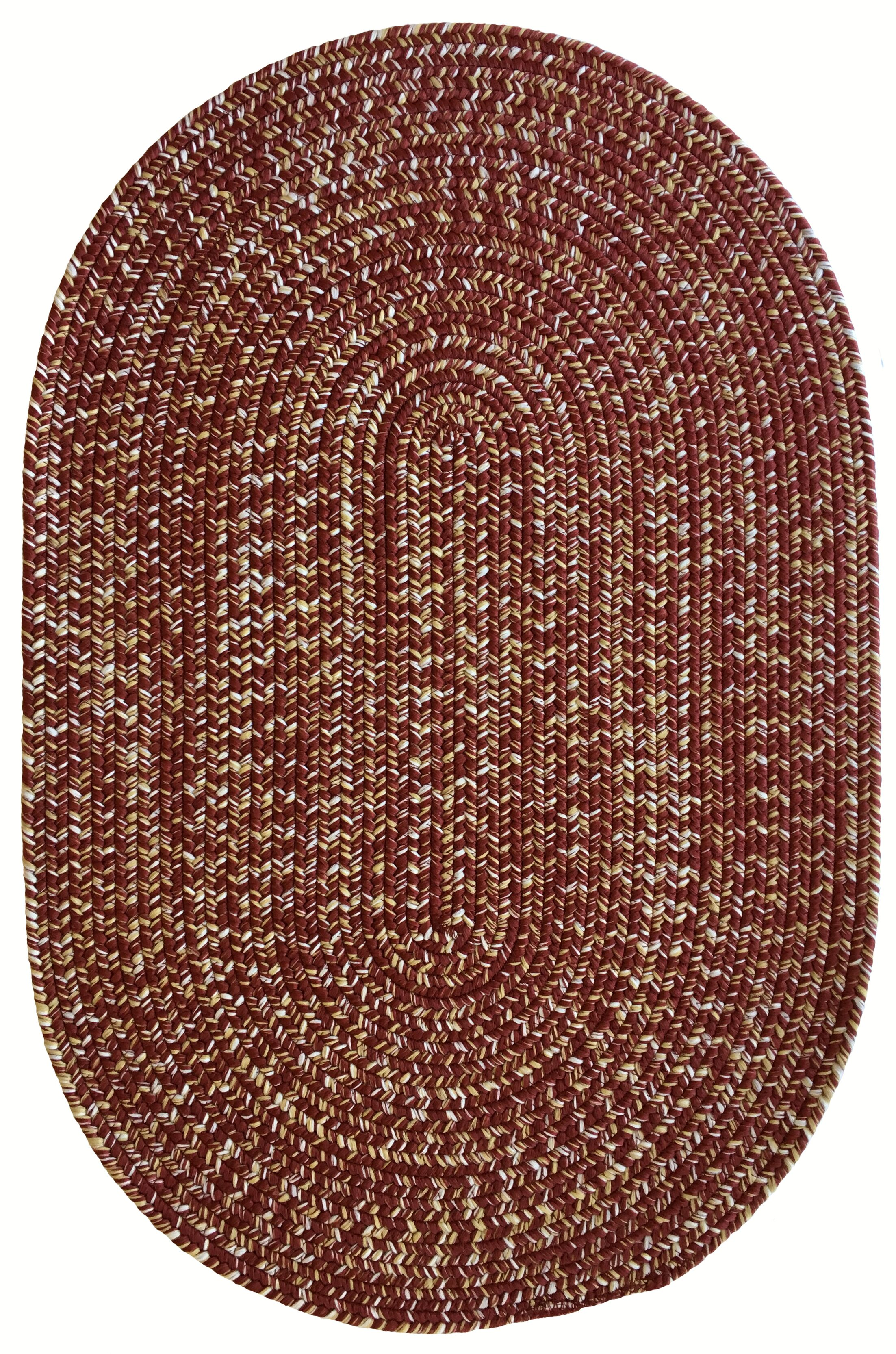 One-of-a-Kind Aukerman Hand-Braided Red Indoor/Outdoor Area Rug Rug Size: Oval 3' x 5'