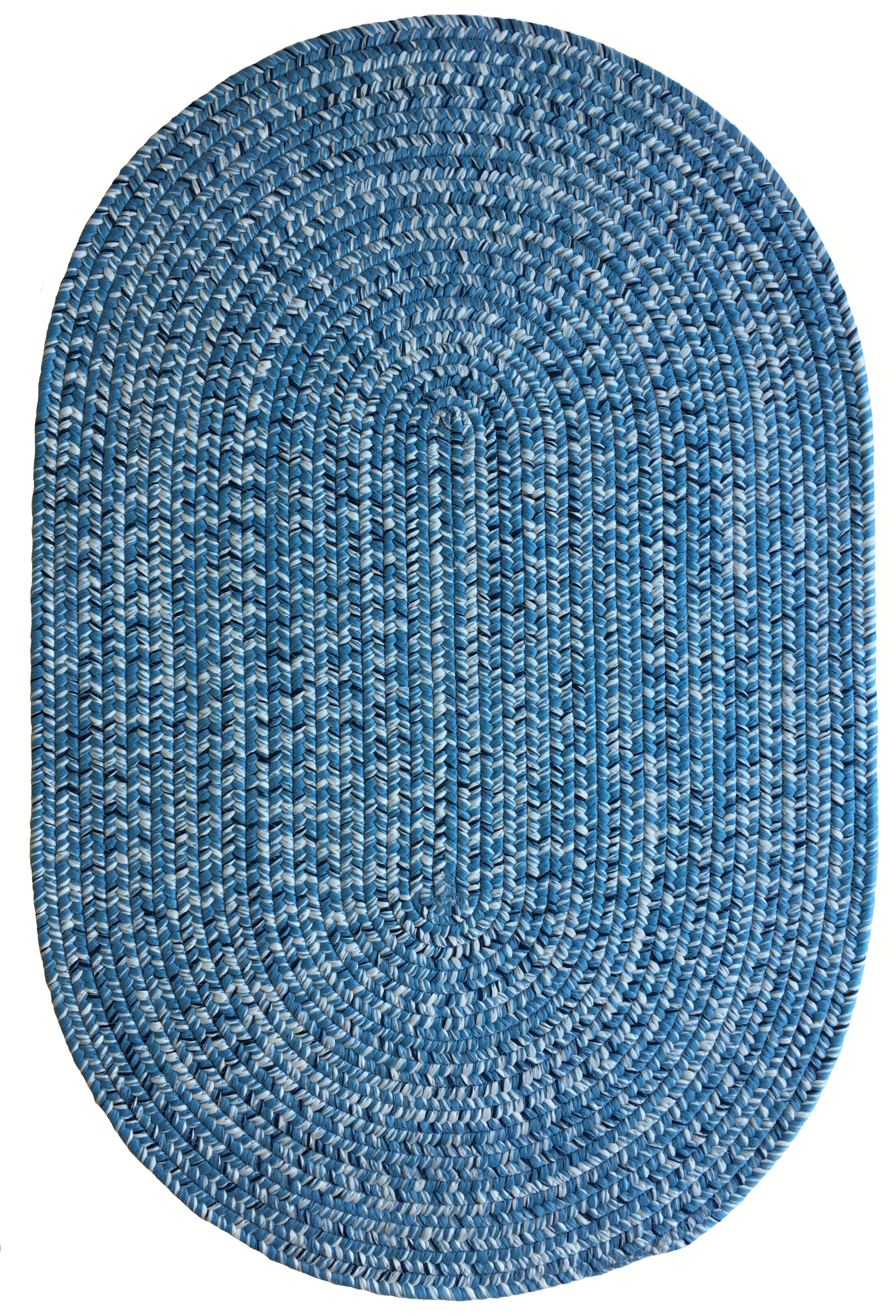 One-of-a-Kind Aukerman Hand-Braided Light Blue Indoor/Outdoor Area Rug Rug Size: Oval 8' x 11'
