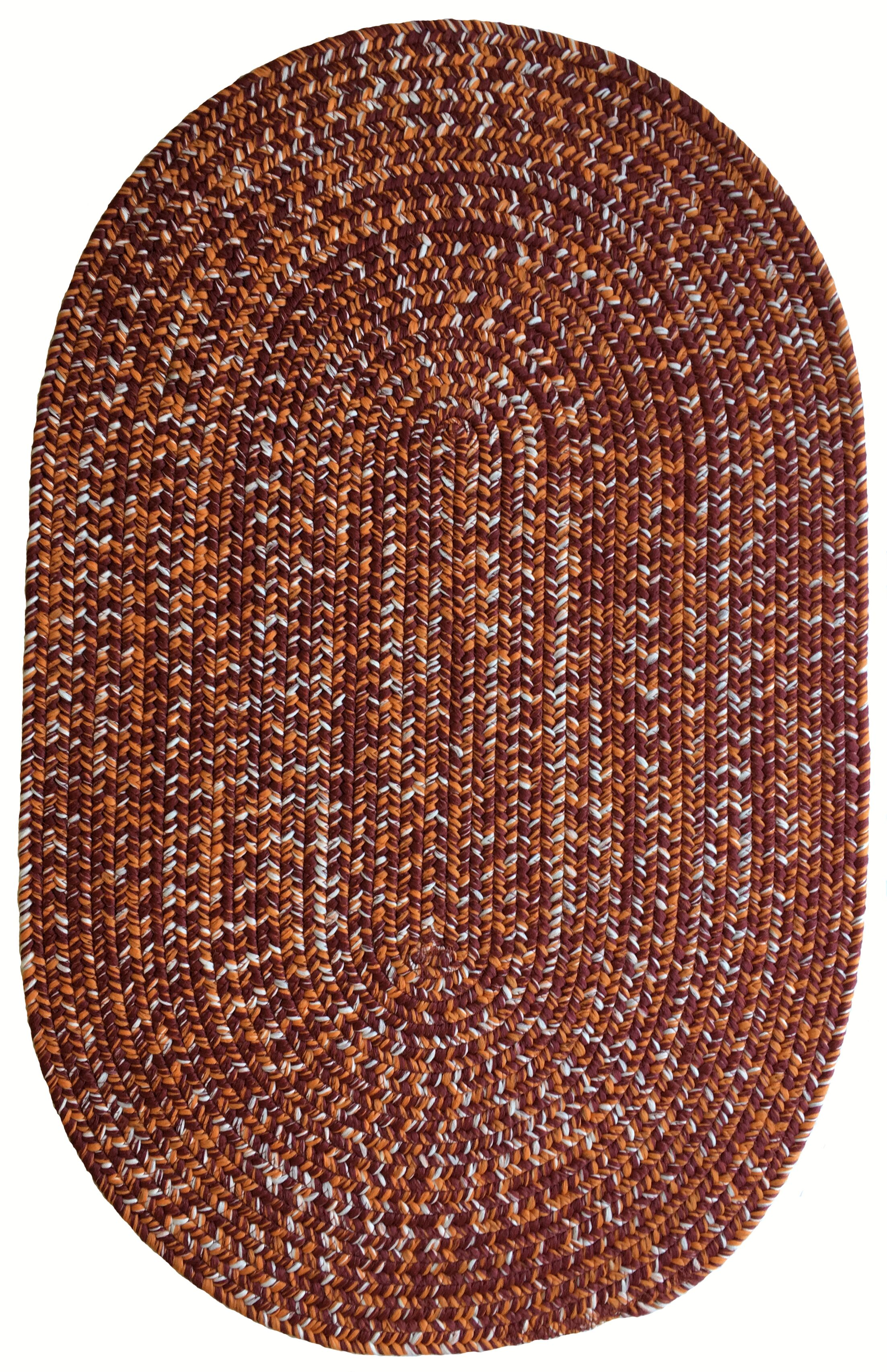 One-of-a-Kind Aukerman Hand-Braided Red/Burnt Orange Indoor/Outdoor Area Rug Rug Size: Oval 2'3