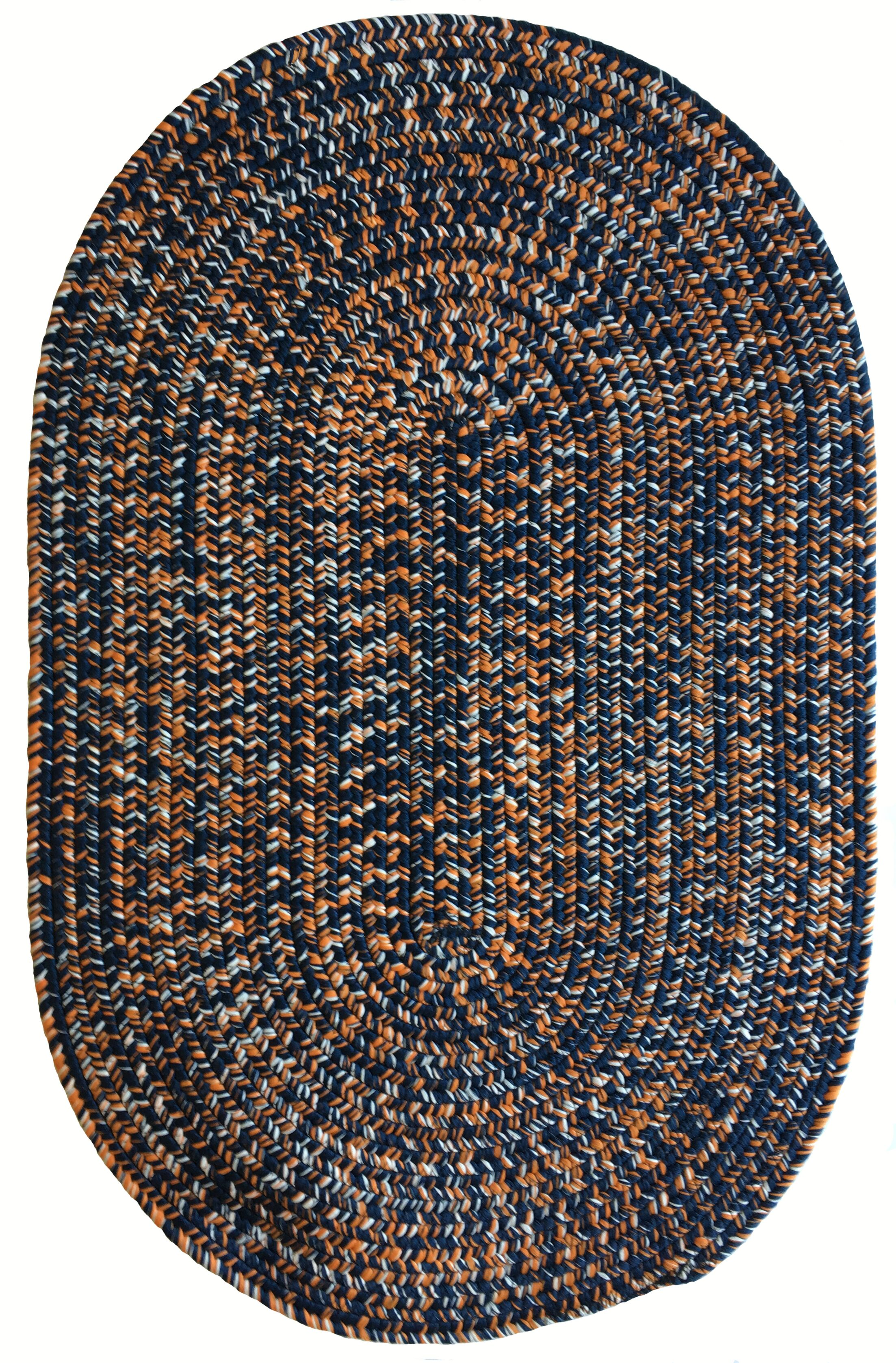 One-of-a-Kind Aukerman Hand-Braided Navy/Orange Indoor/Outdoor Area Rug Rug Size: Oval 9'2
