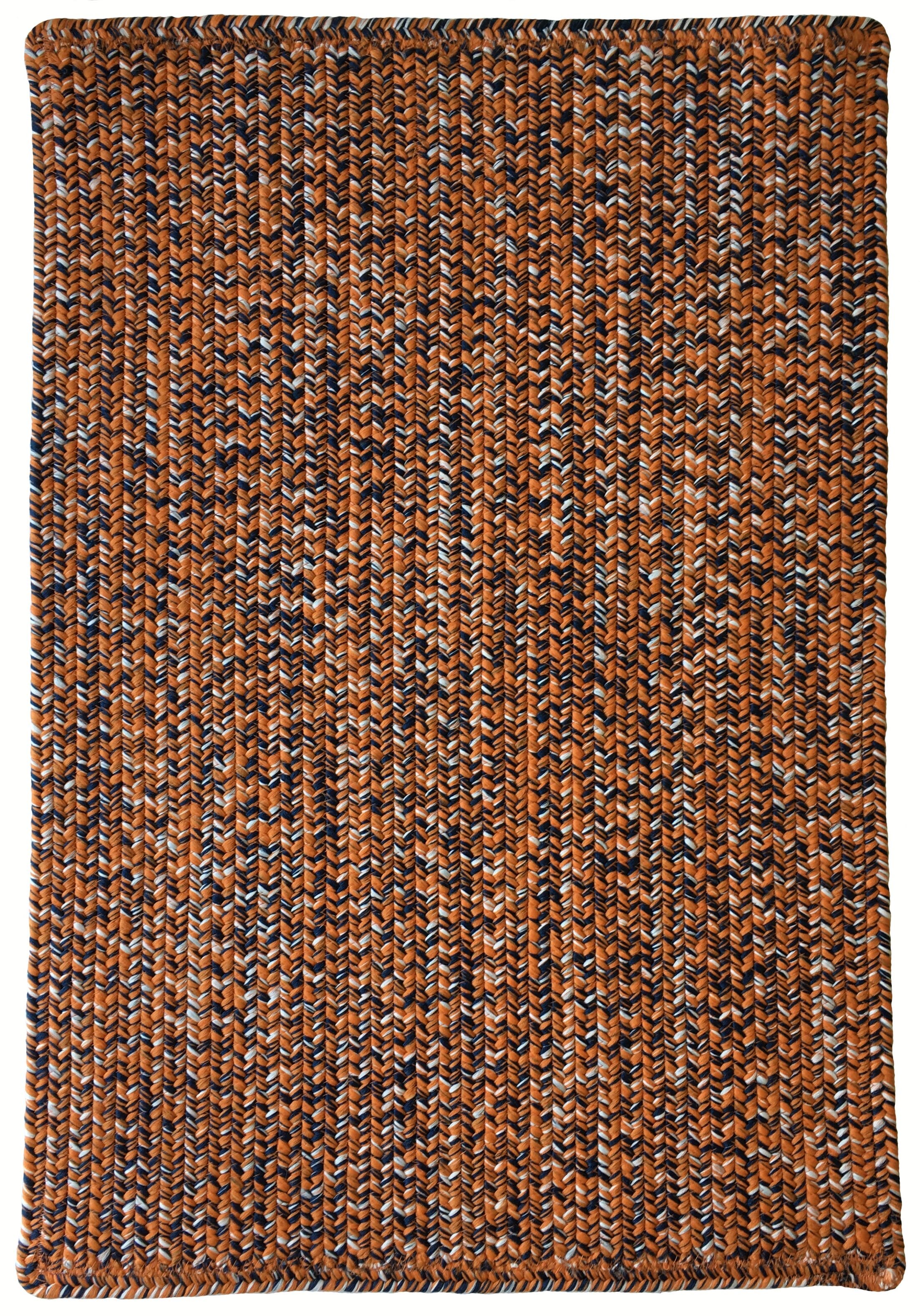 One-of-a-Kind Aukerman Hand-Braided Orange/Navy Indoor/Outdoor Area Rug Rug Size: Rectangle 7' x 9'