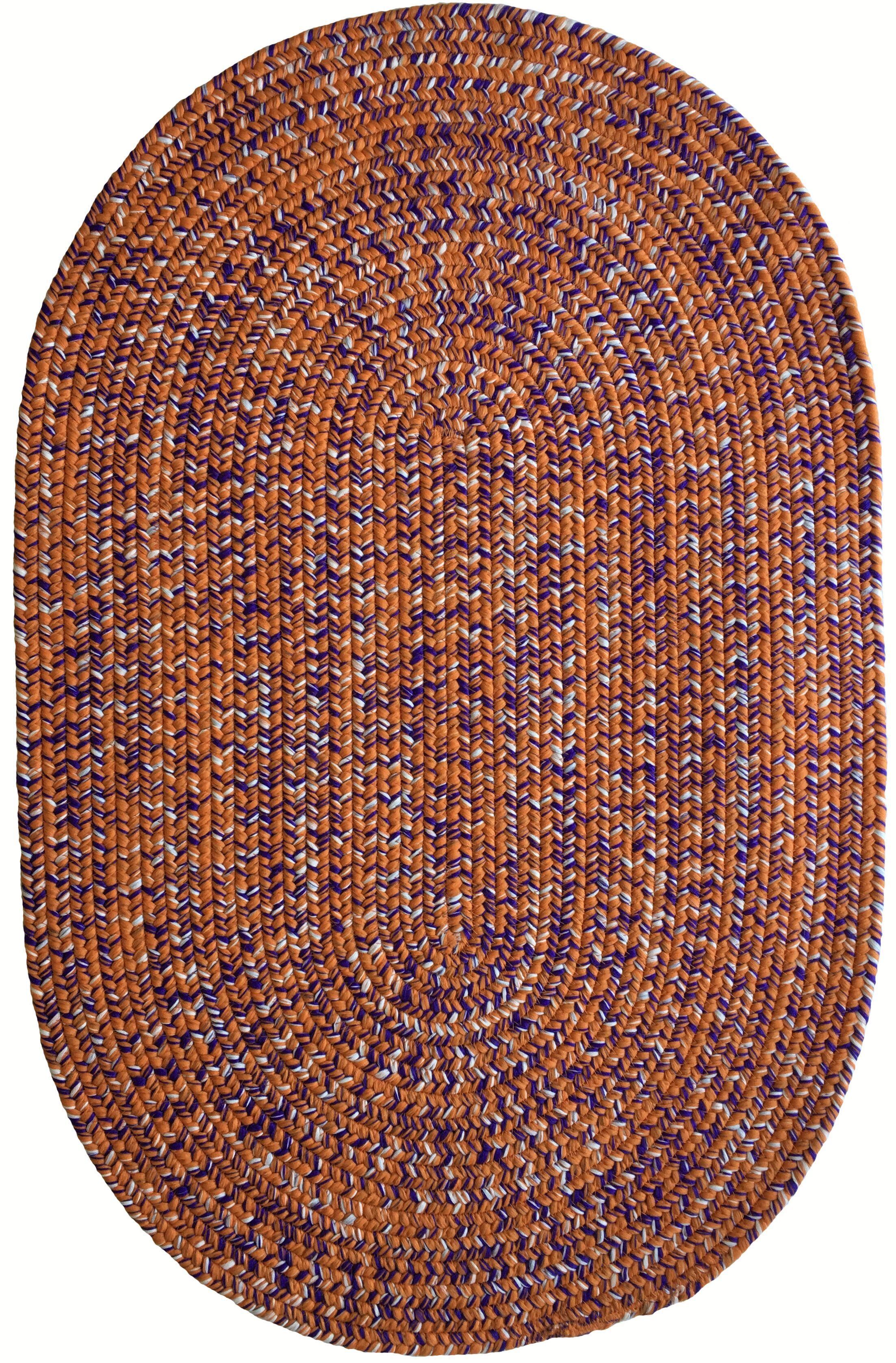 One-of-a-Kind Aukerman Hand-Braided Orange/Purple Indoor/Outdoor Area Rug Rug Size: Oval 4' x 6'