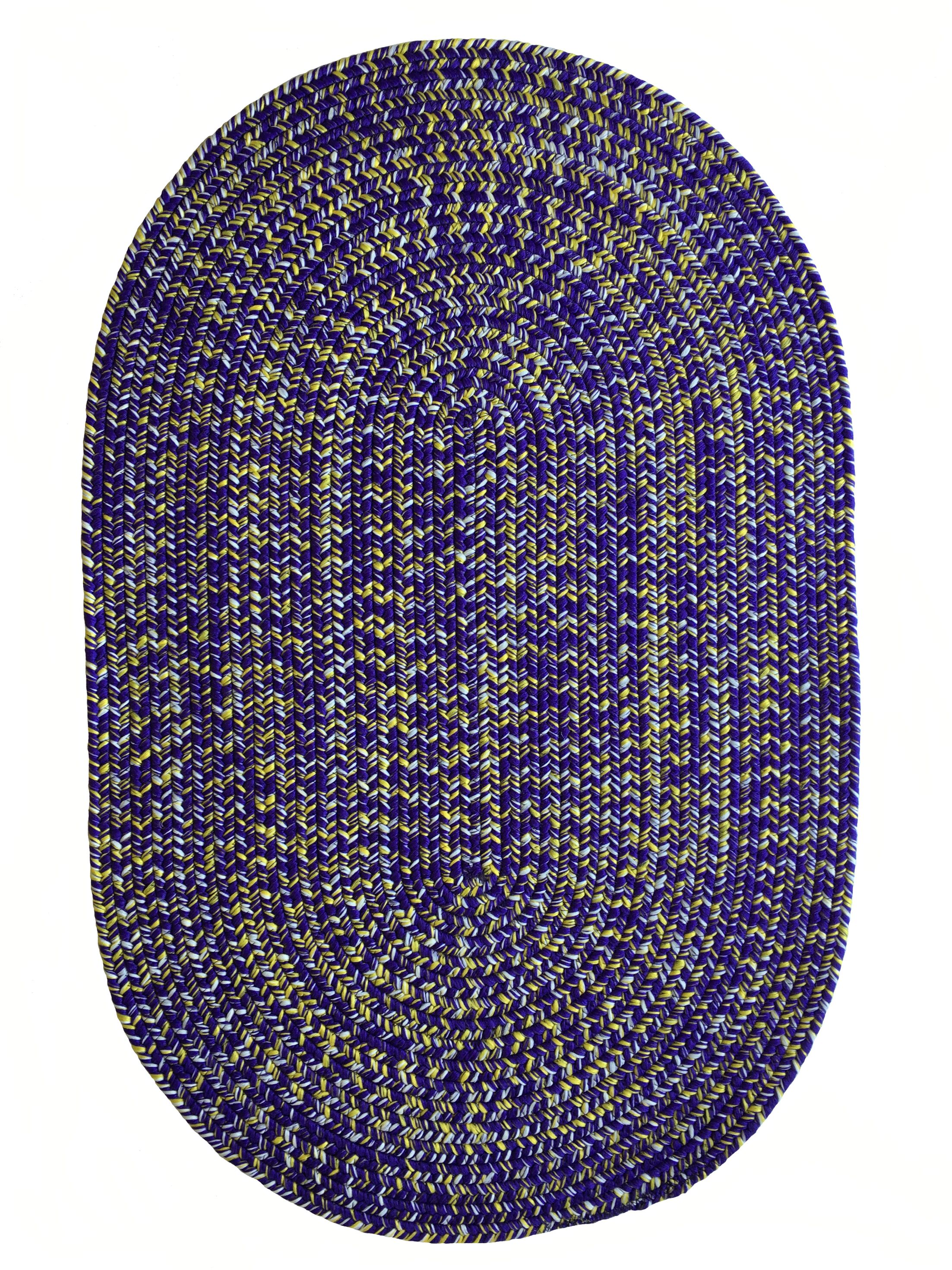 One-of-a-Kind Aukerman Hand-Braided Purple/Gold Indoor/Outdoor Area Rug Rug Size: Oval 4' x 6'