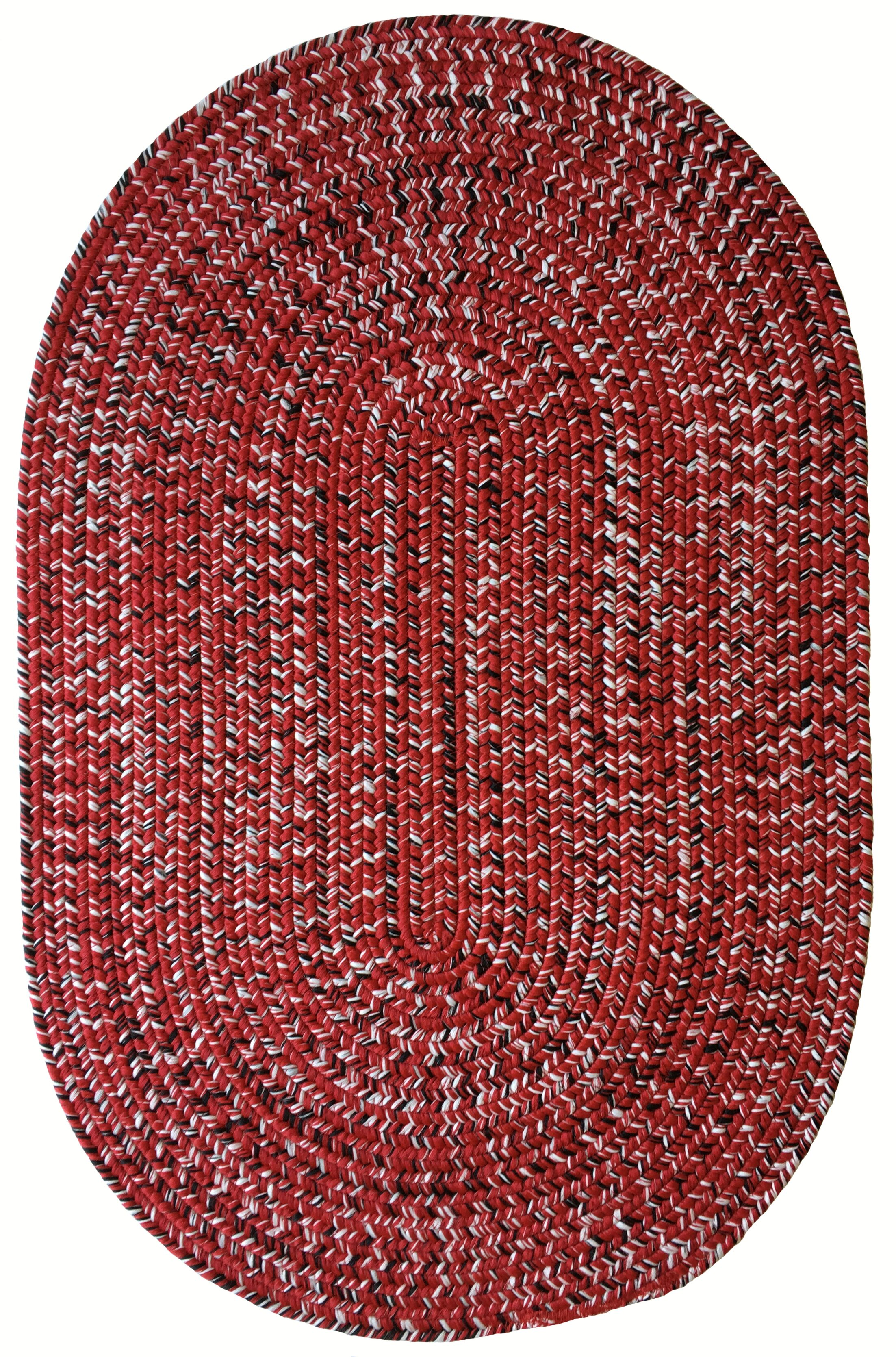 One-of-a-Kind Aukerman Hand-Braided Red/Black Indoor/Outdoor Area Rug Rug Size: Oval 9'2