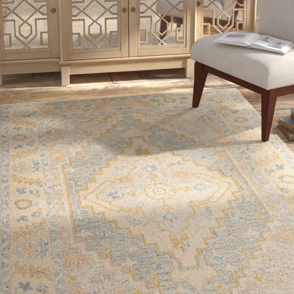 Nichole Hand Tufted Wool Beige Area Rug Rug Size: Square 5'