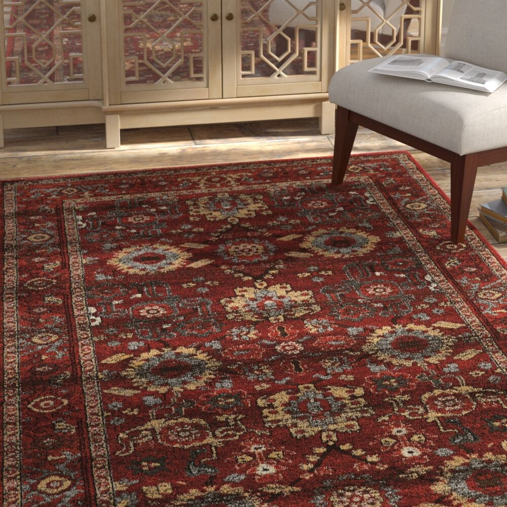 Shelie Heriz Red/Gray Area Rug Rug Size: Rectangle 5' x 7'6