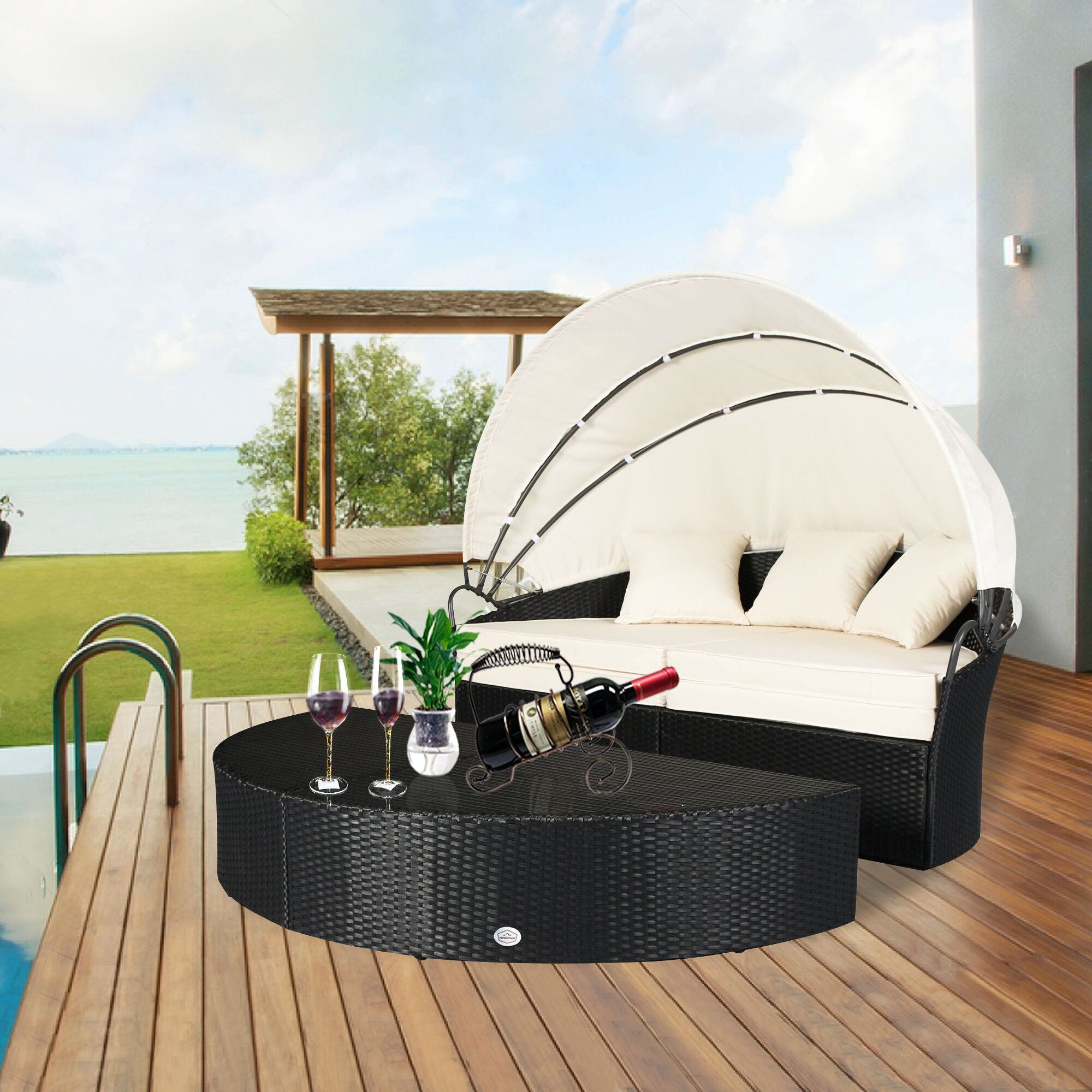 Noor Rattan Patio Daybed with Cushions