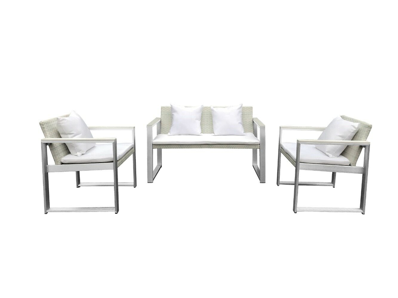 Leal 4 Piece Rattan Sofa Seating Group with Cushions Frame Finish: Gray, Cushion Color: White