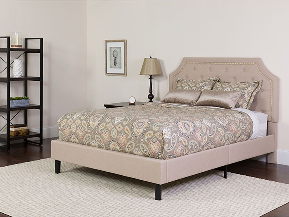 Carley Upholstered Platform Bed with Mattress Color: Beige, Size: Queen