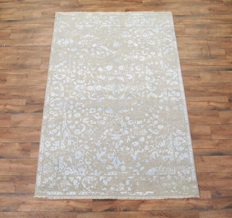 One-of-a-Kind Bovill Ikats Oriental Hand-Knotted Ivory Area Rug