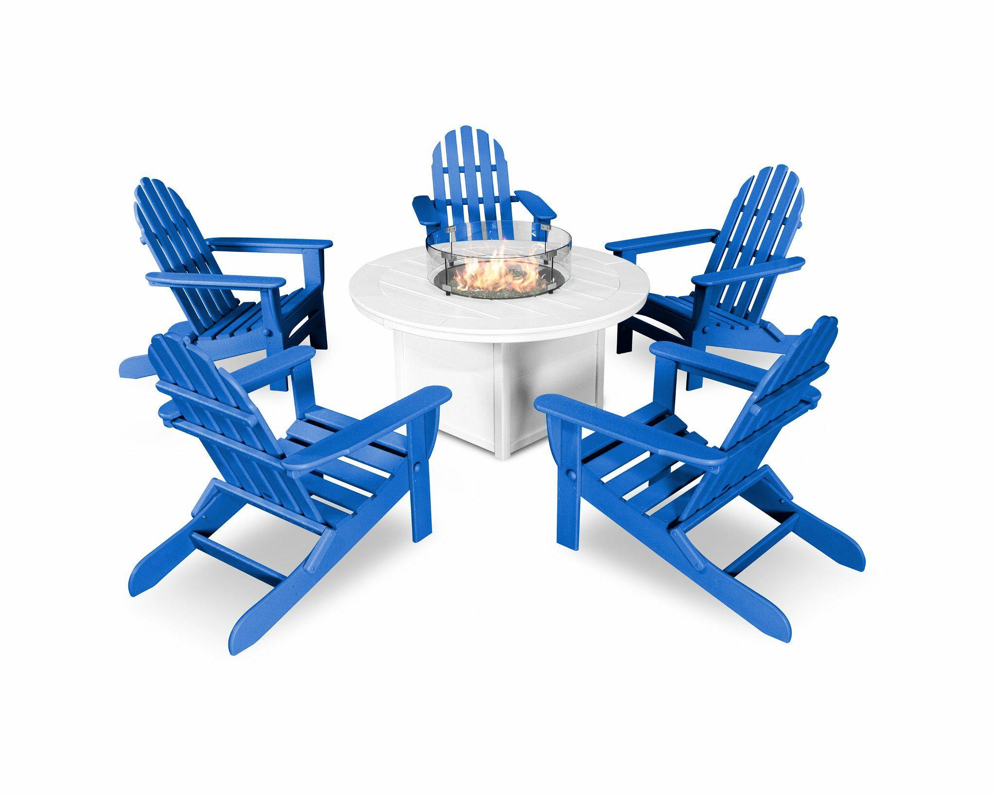 6 Piece Complete Patio Set Color: Pacific Blue/White