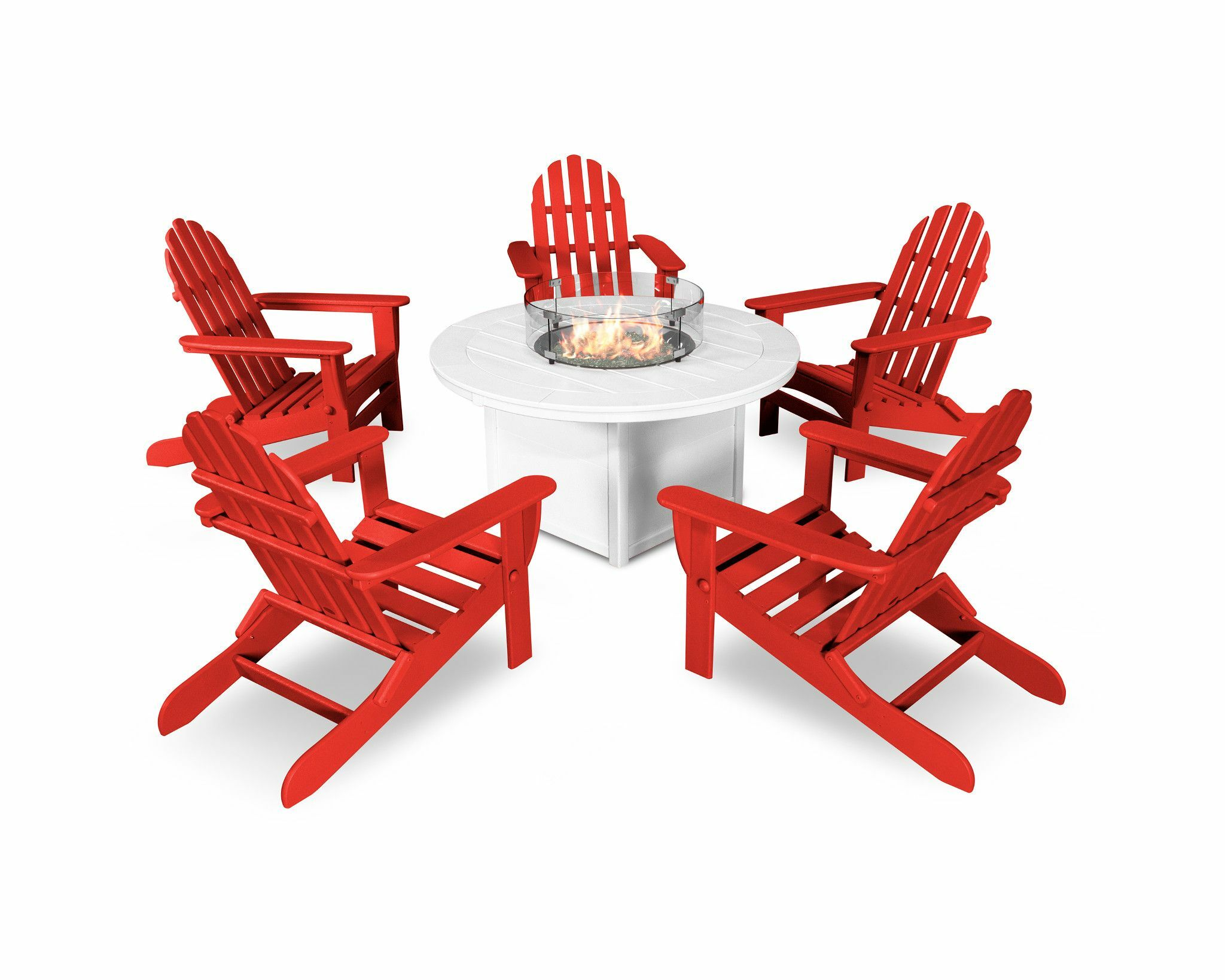 6 Piece Complete Patio Set Color: Sunset Red/White