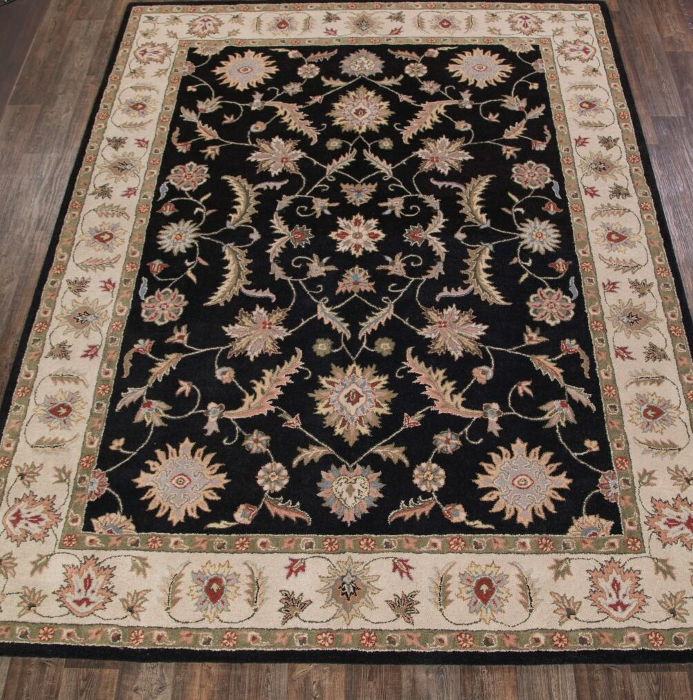 Batson Tabriz Hand-Tufted Wool Beige/Black Area Rug