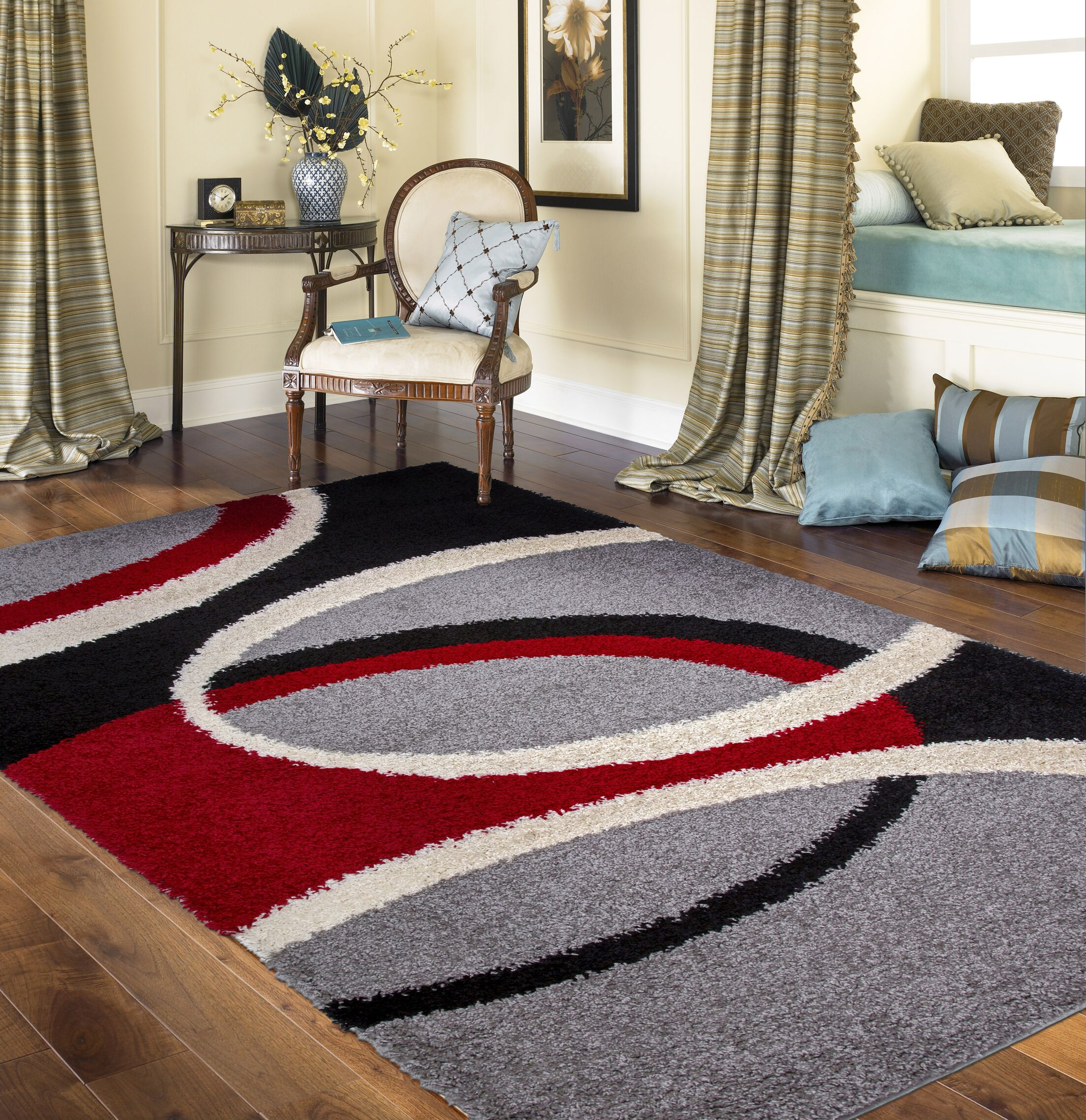 Samantha Cozy Shag Contemporary Geometric Circles Red Area Rug Rug Size: Rectangle 7'10