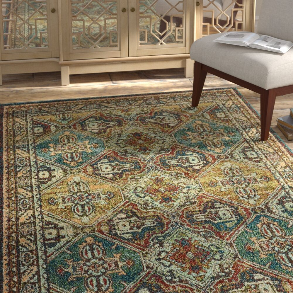 Hedberg Teal/Brown Area Rug Rug Size: Rectangle 5'3