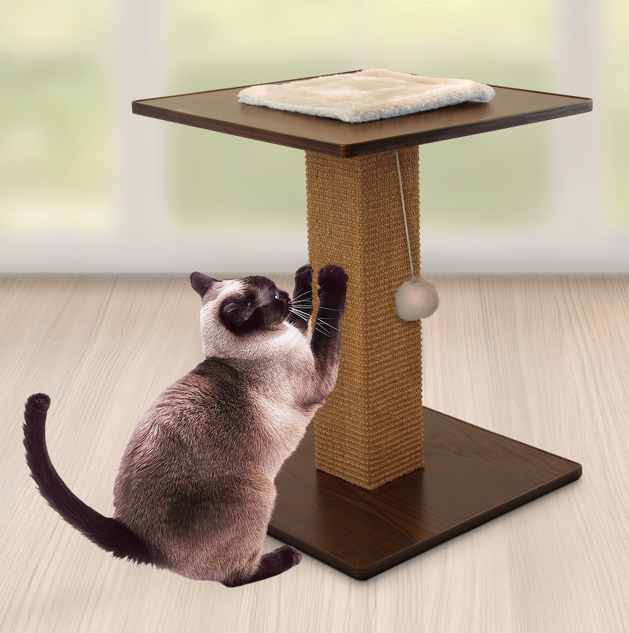 Ecker Square End Table Scratching Post Color: Wallnut