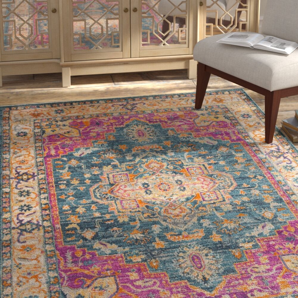 Doucette Blue/Pink Area Rug Rug Size: Rectangle 9' x 12'