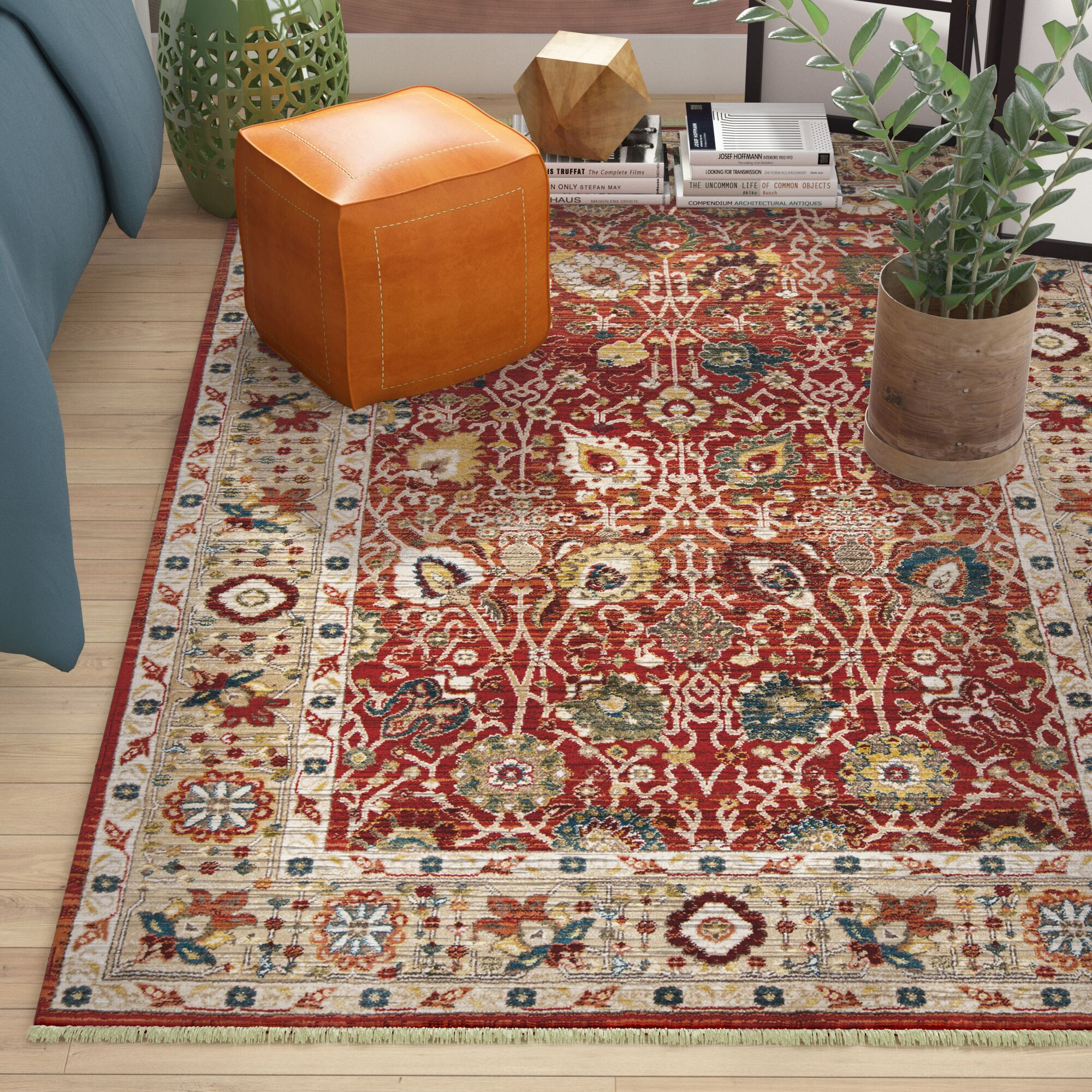 Ebner Red/Beige Area Rug Rug Size: Rectangle 9'6
