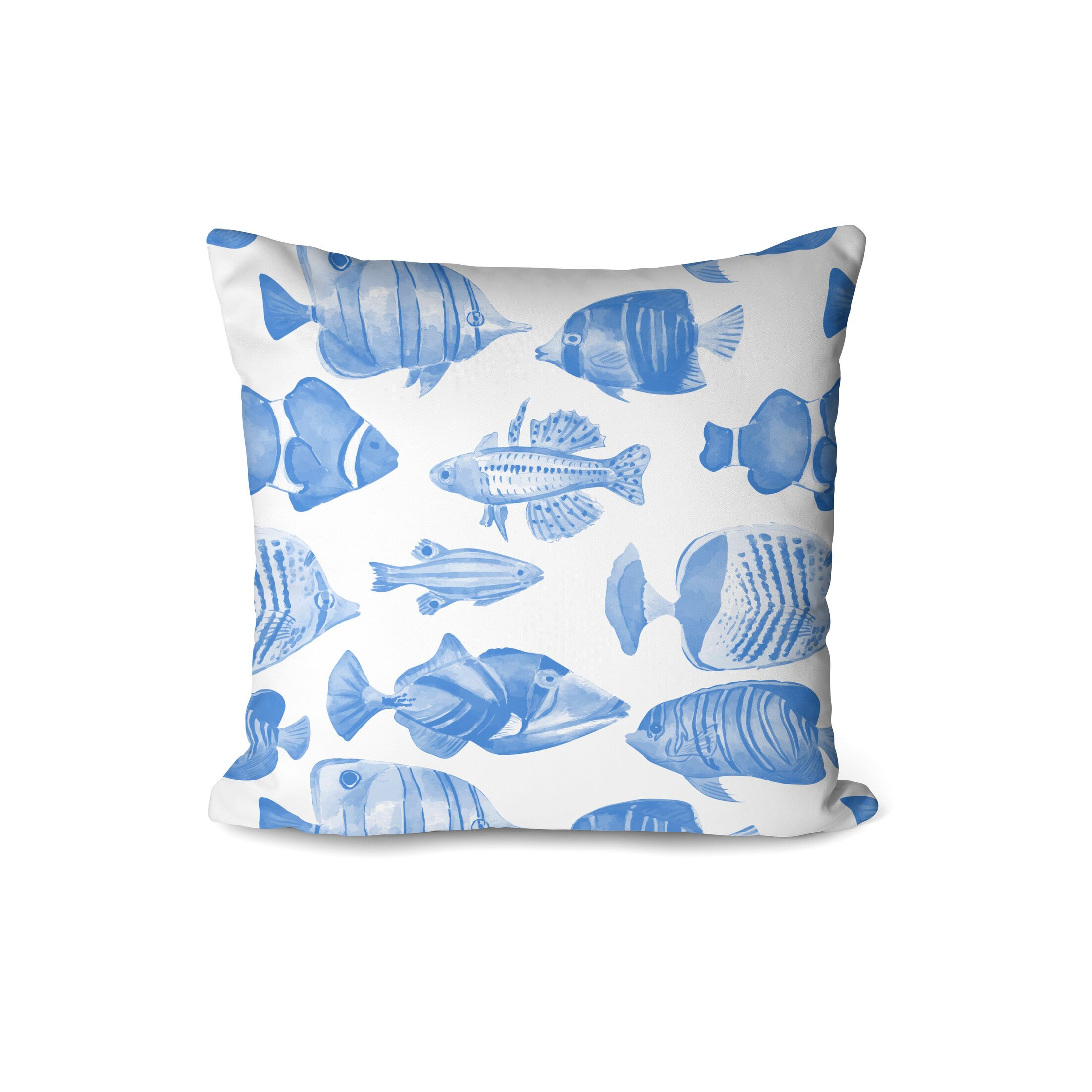 Emmanuelle Fish Party Indoor/Outdoor Throw Pillow (Set of 2) Color: Blue