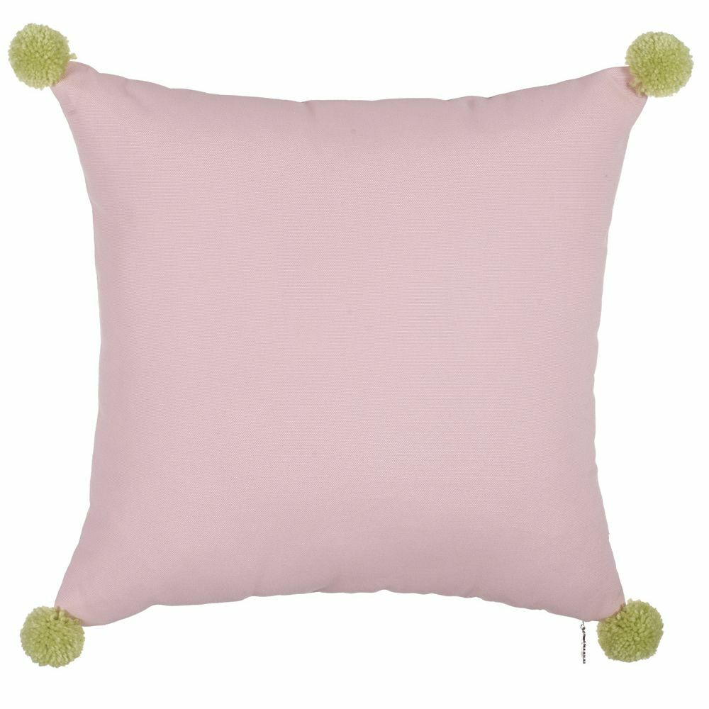 Salses Solid Pom-Pom Edges Throw Pillow (Set of 2) Color: Pink