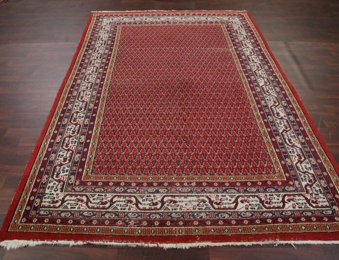 One-of-a-Kind Alexia Botemir Indian Oriental Hand-Knotted Wool Red/Burgundy Area Rug