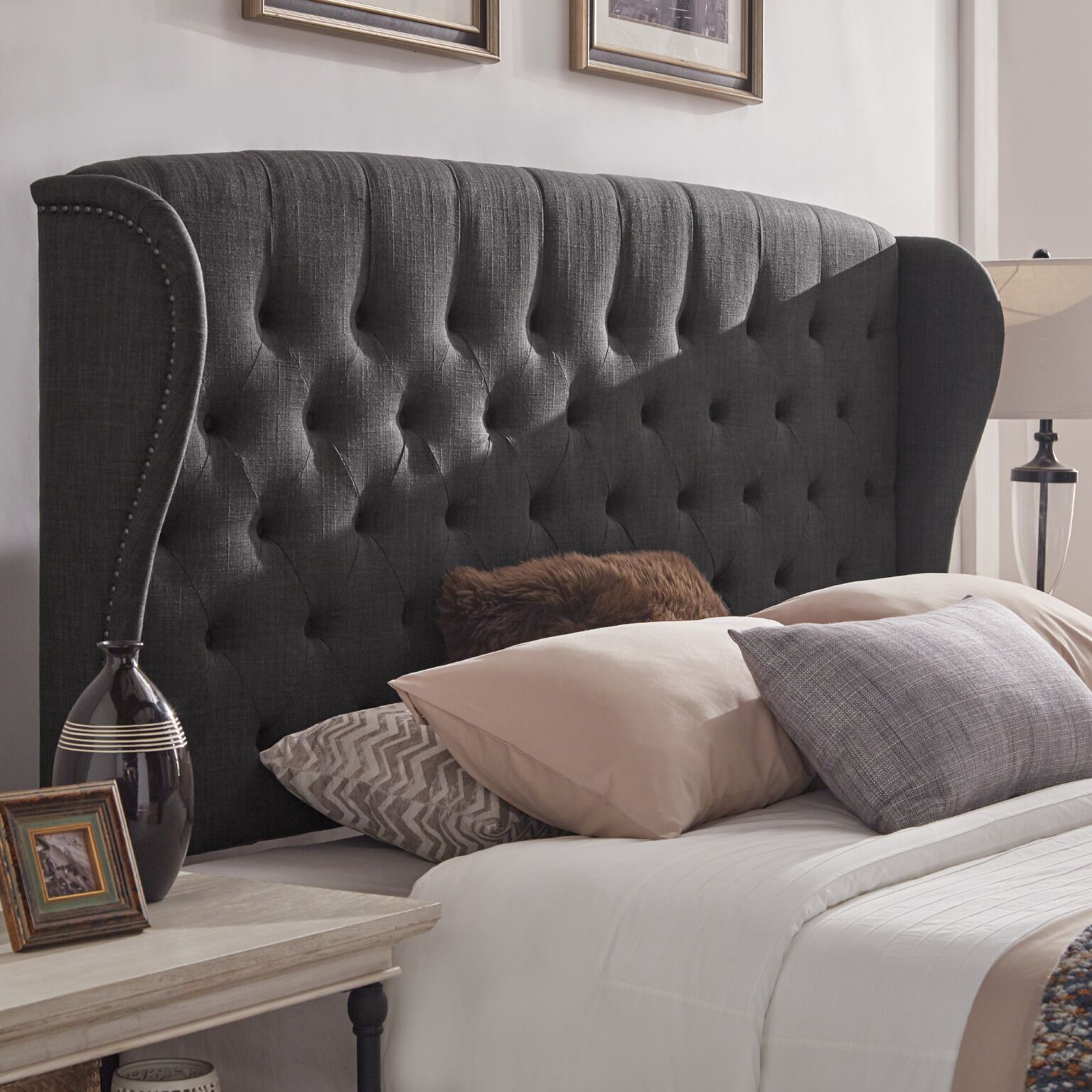 Upholstered Wingback Headboard Color: Dark Gray, Size: Queen