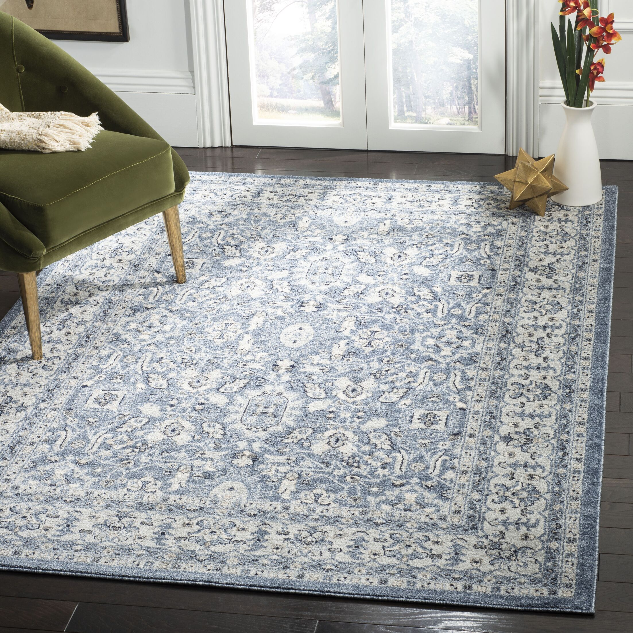Jase Navy/Creme Area Rug Rug Size: Rectangle 8' x 10'