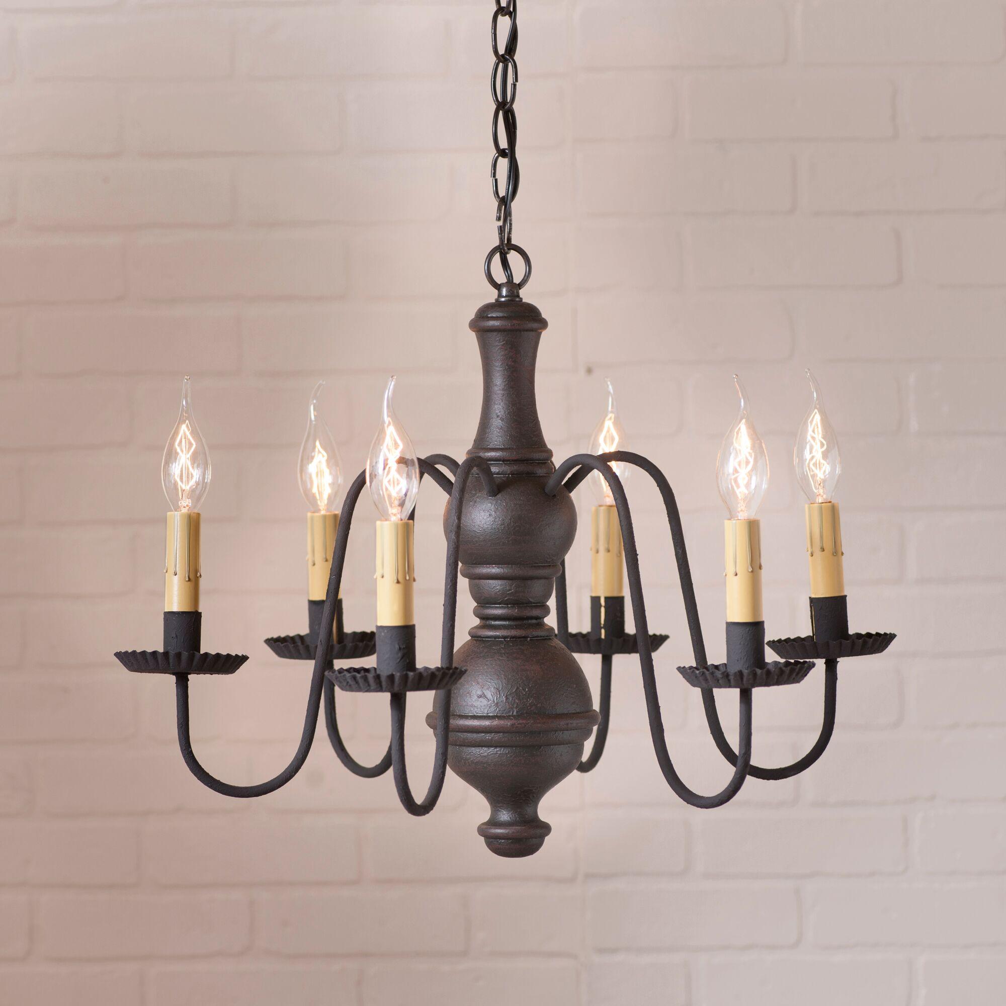 Hurt 6-Light Candle Style Chandelier Finish: Black, Size: 16.5
