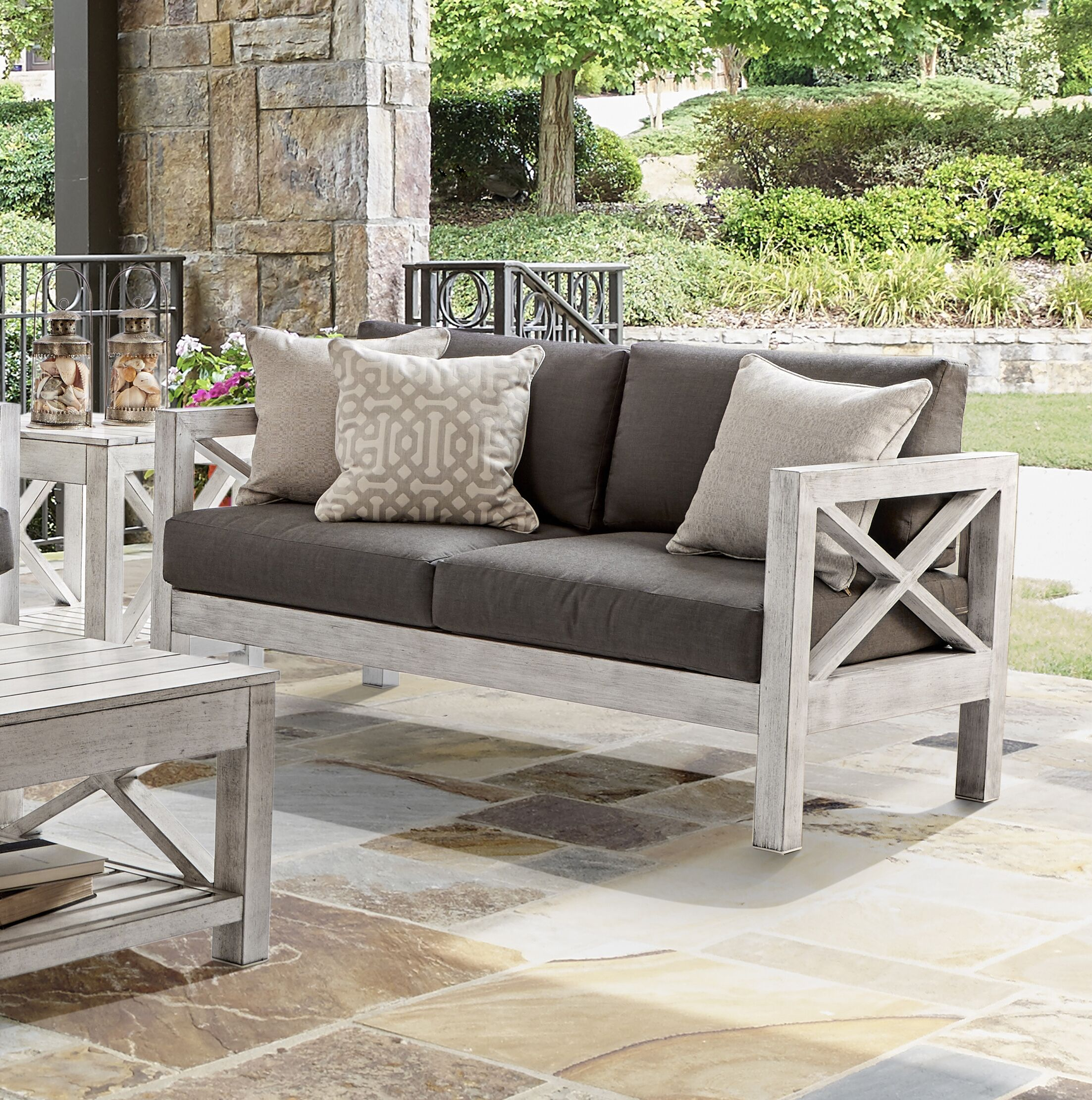 Barden Patio Loveseat with Sunbrella Cushions Cushion Color: Canvas Khaki