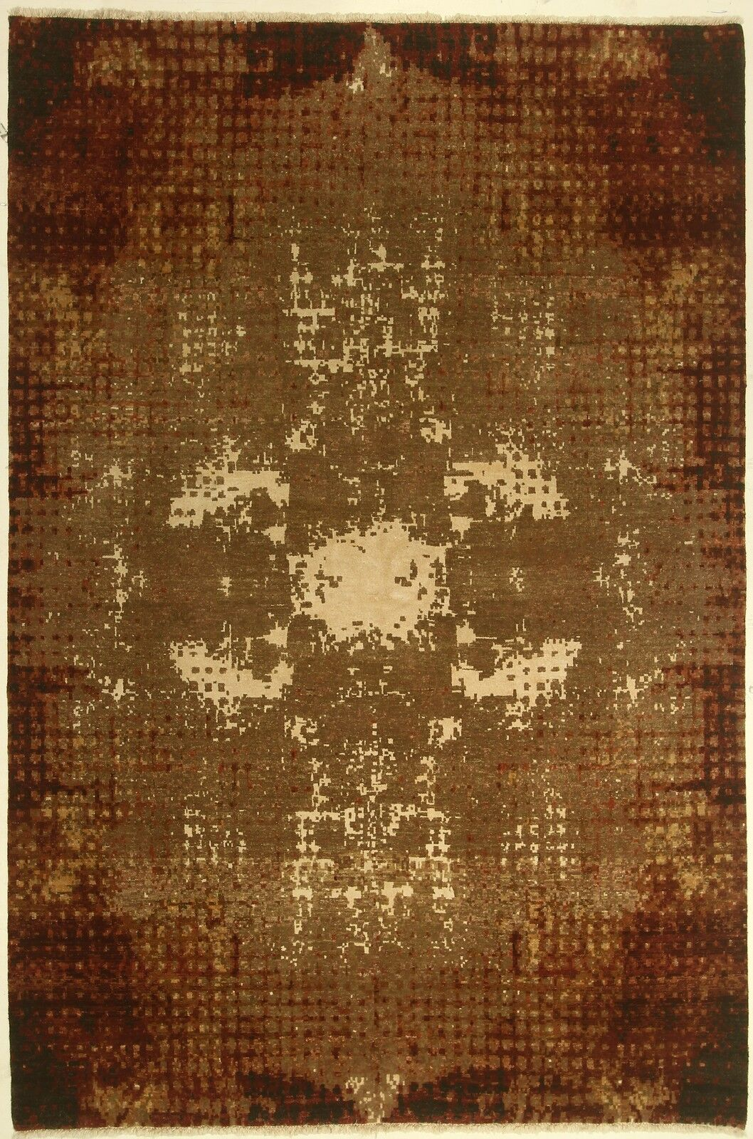 One-of-a-Kind Coral Hand-Knotted Brown Area Rug