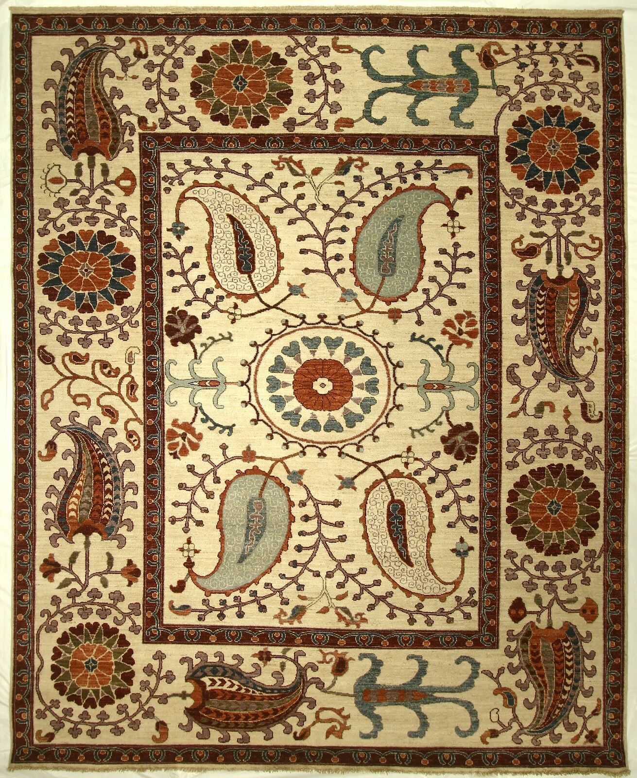 One-of-a-Kind Corbin Hand-Knotted Wool Cream Area Rug