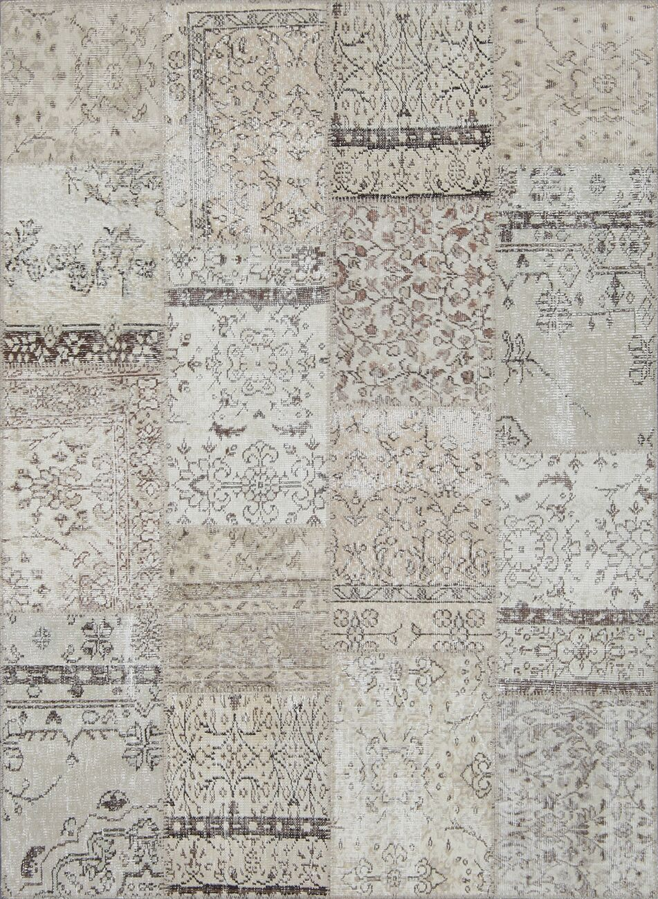 Catharine Antique Patchwork Hand-Knotted Cream Area Rug Rug Size: Rectangle 5'3