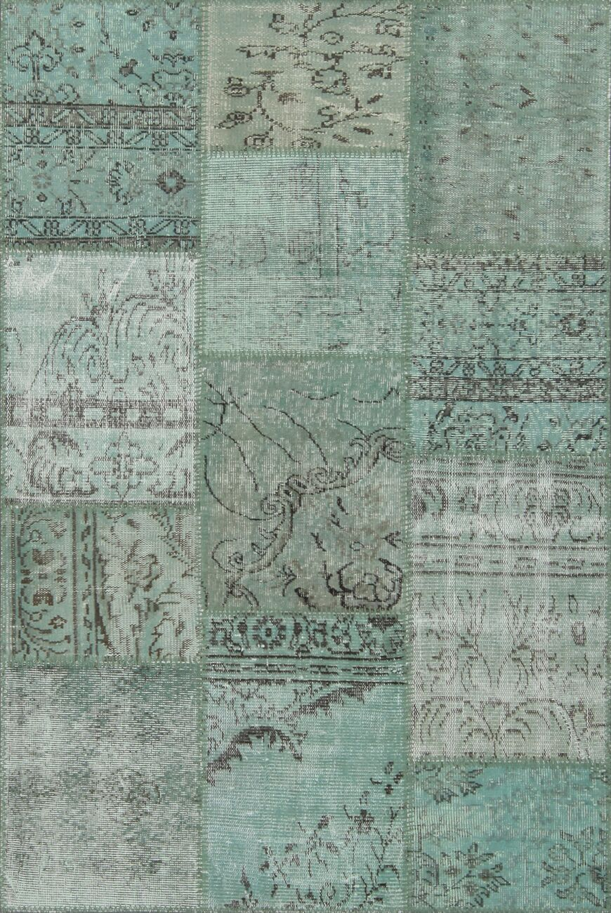 Treva Antique Patchwork Hand-Knotted Green Area Rug Rug Size: Rectangle 3'11