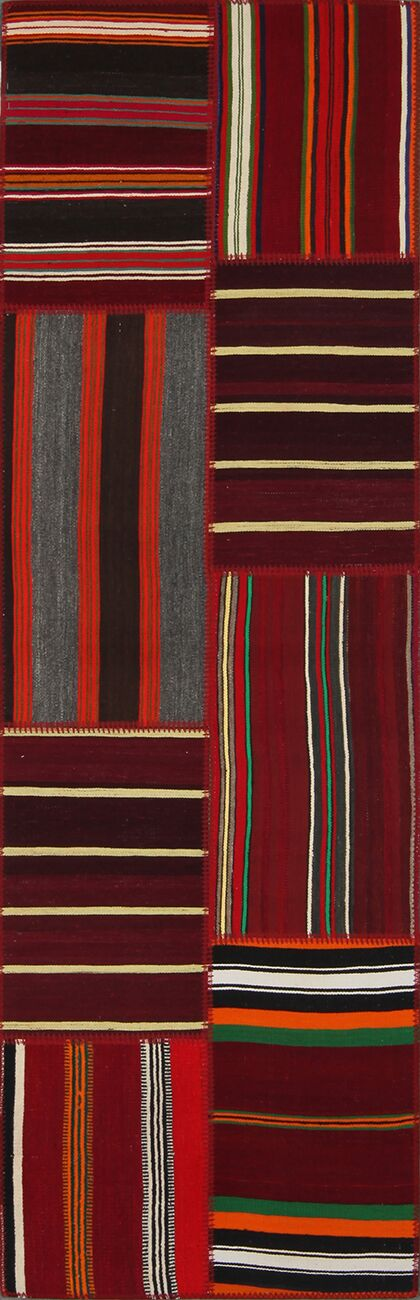 Lavern Tribal Patchwork Hand-Knotted Red Area Rug Rug Size: Runner 2'7