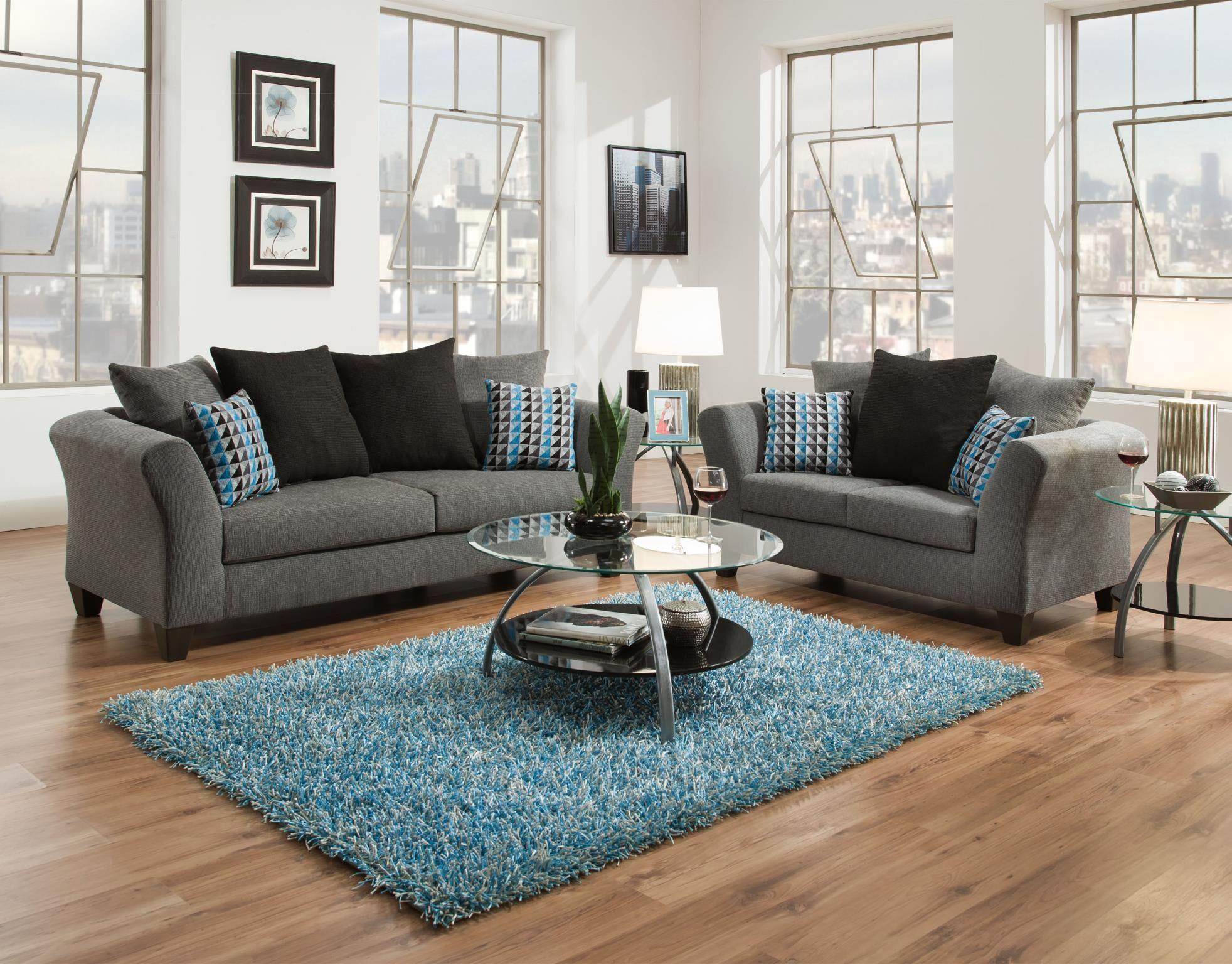 Waterloo 2 Piece Living Room Set Upholstery: Gray