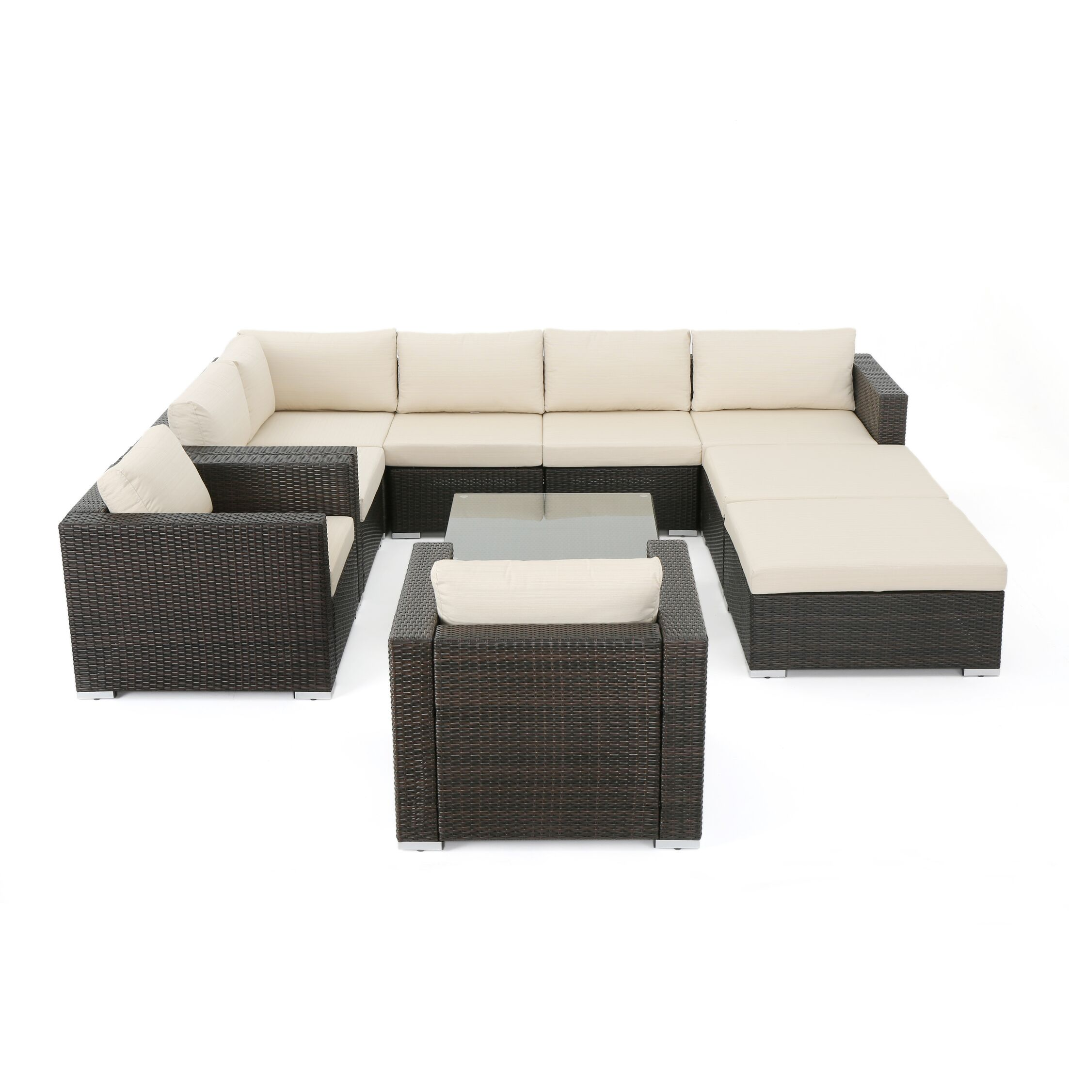 Aftonshire 10 Piece Rattan Sectional Seating Group with Cushions