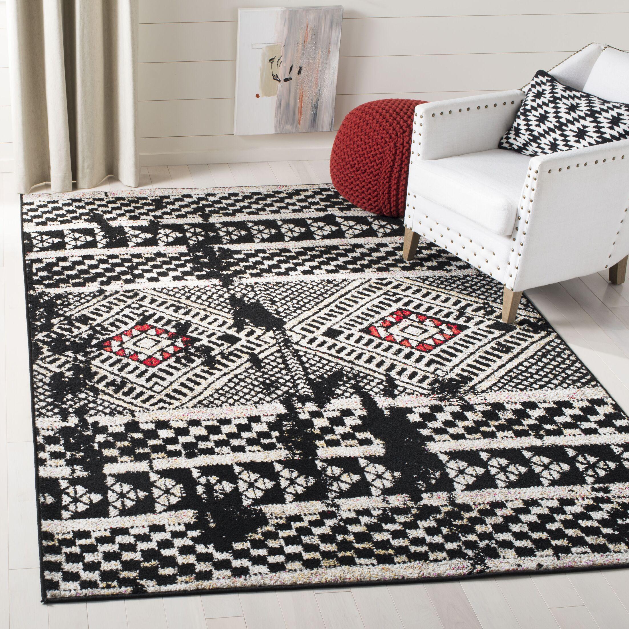 Alisa Black/Light Gray Area Rug Rug Size: Rectangle 6' x 9'