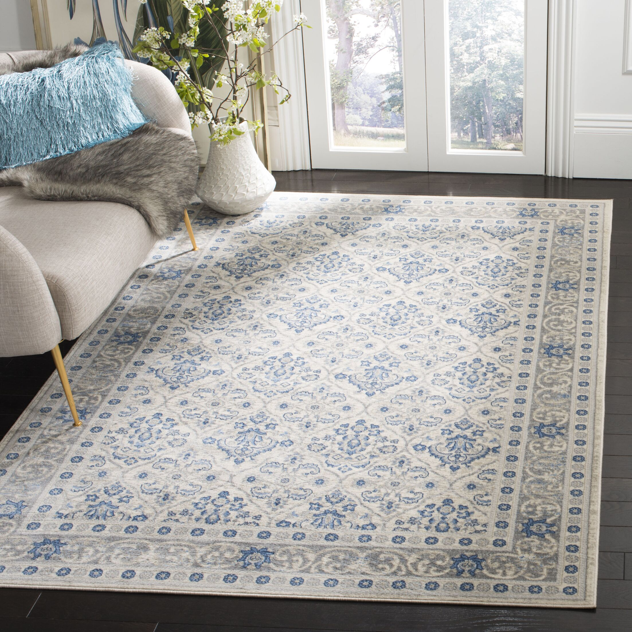 Lamartine Light Gray/Blue Area Rug Rug Size: Rectangle 5'3