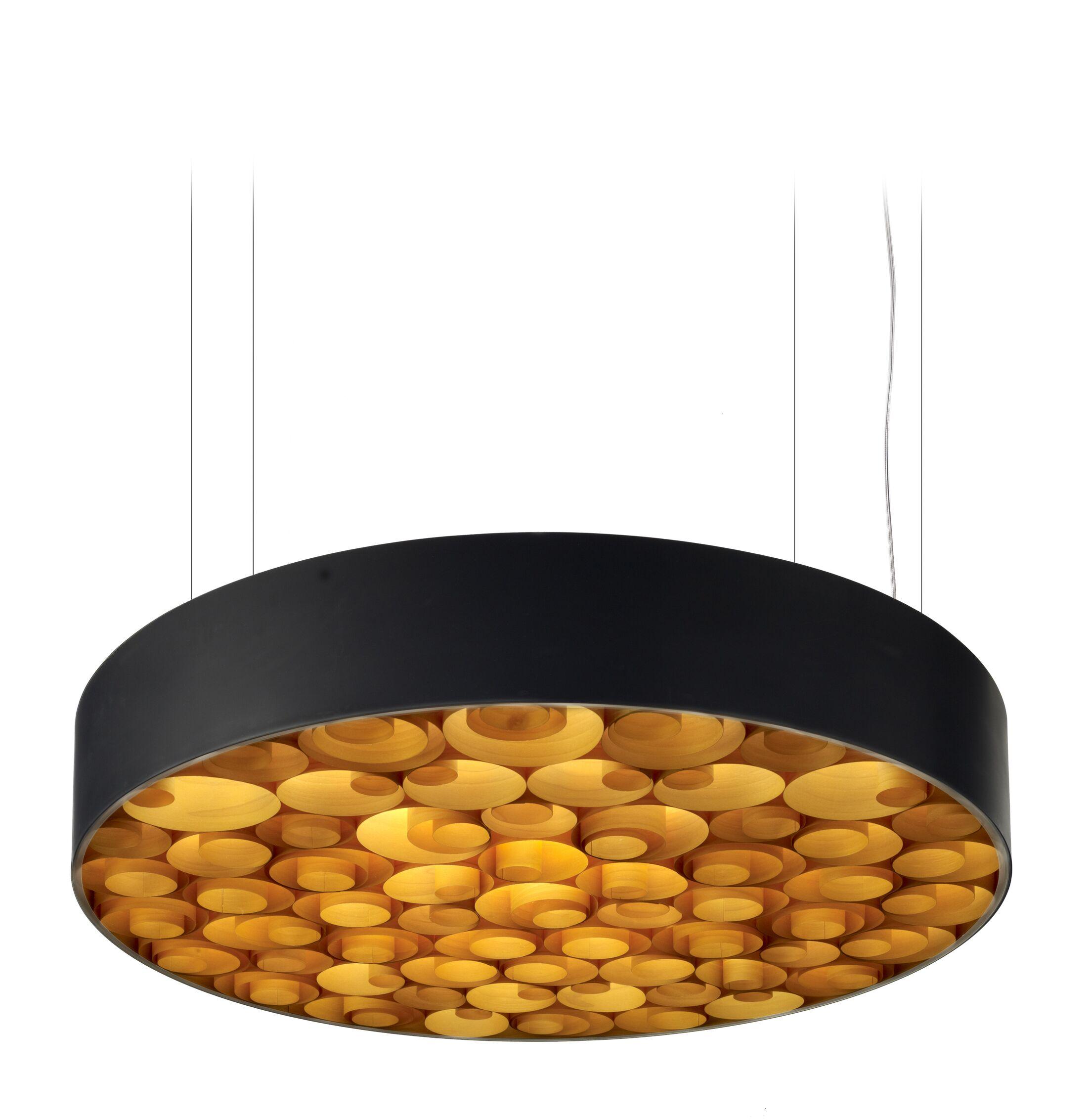 Spiro LED Drum Pendant Finish: Black Outer, Shade Color: Orange, Size: Medium