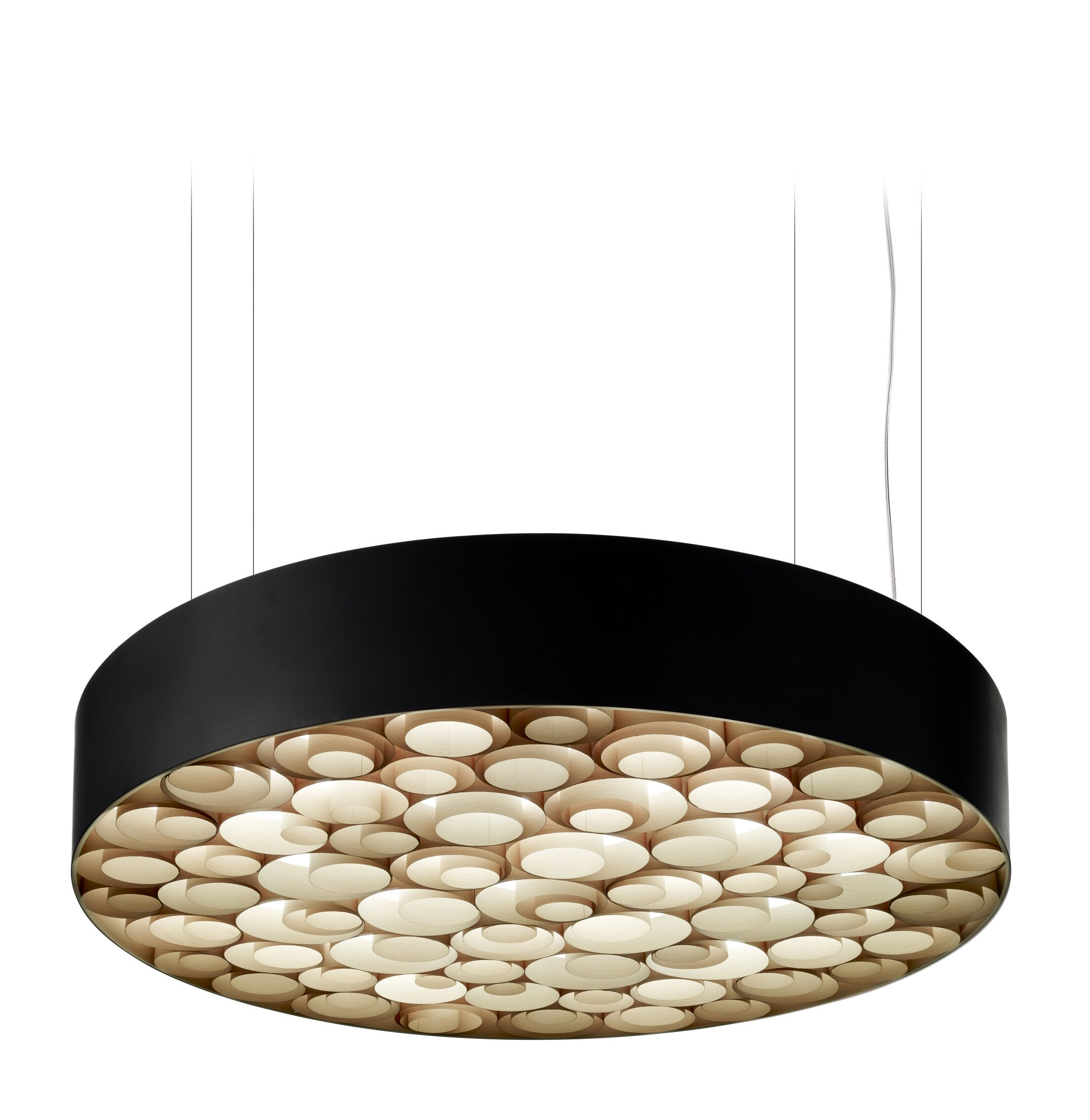 Spiro LED Drum Pendant Finish: Black Outer, Size: Medium, Shade Color: Natural Beech