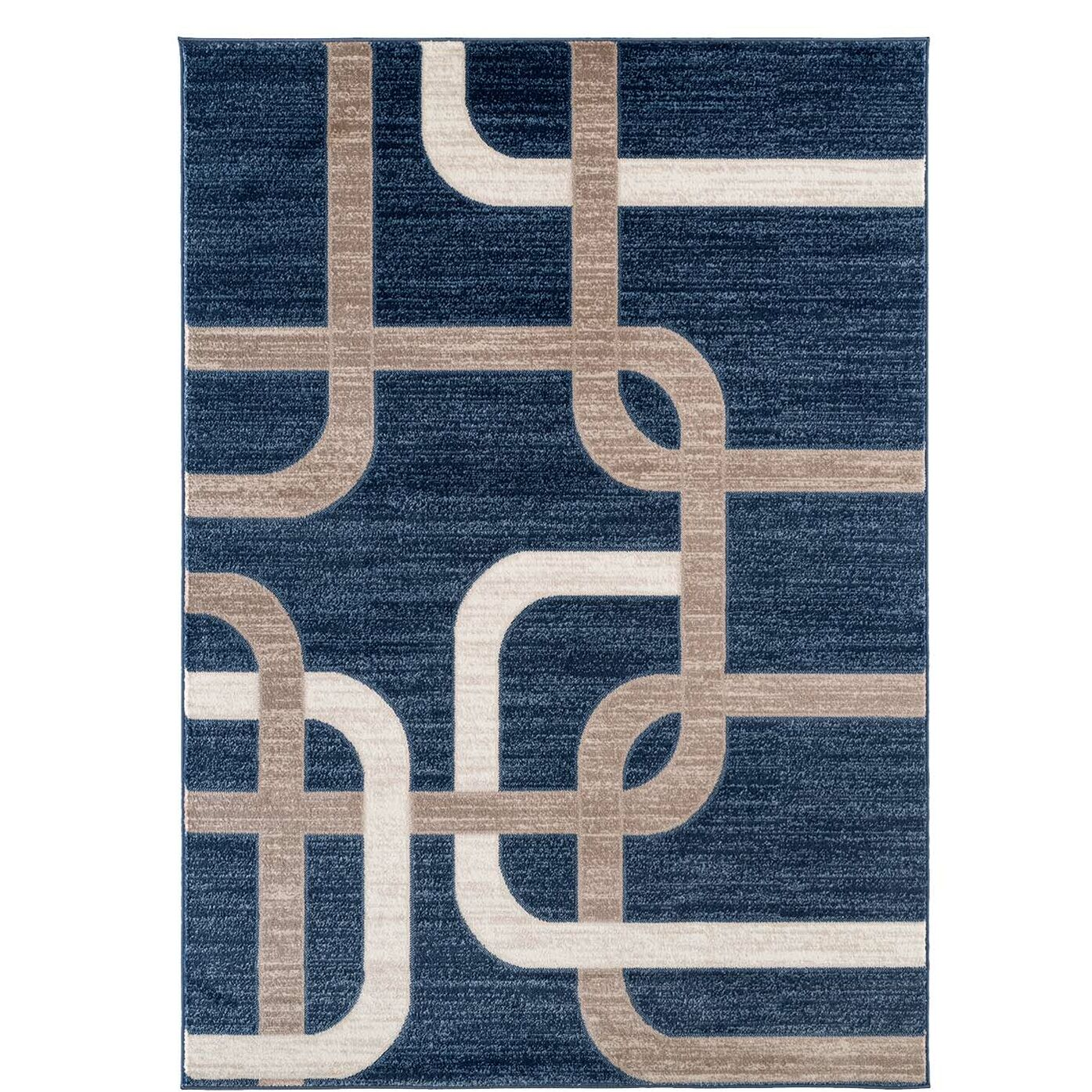 Barksdale Modern Navy/Beige Area Rug Rug Size: Rectangle 5'3