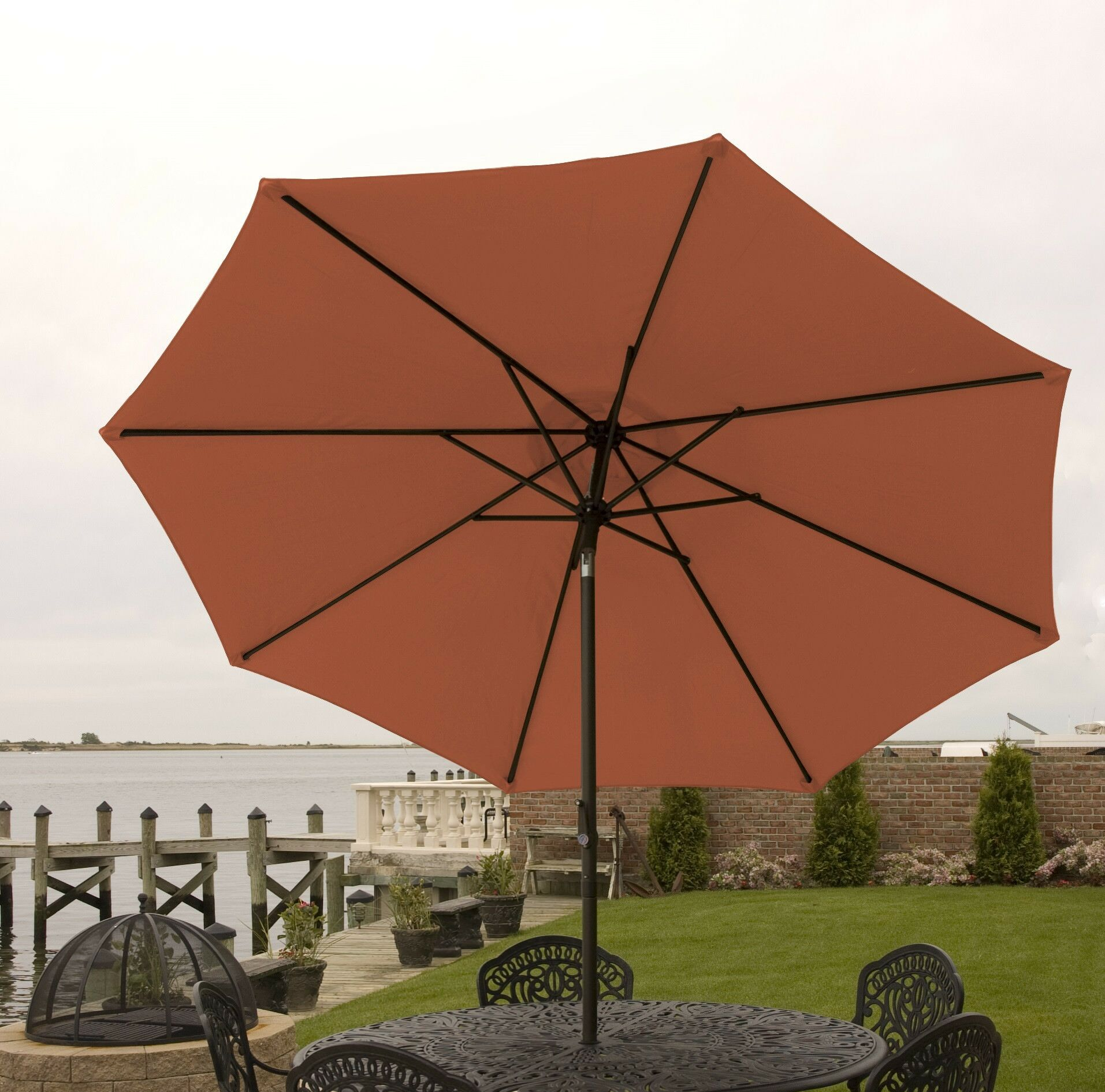 Nero 9' Market Umbrella Frame Color: Orange