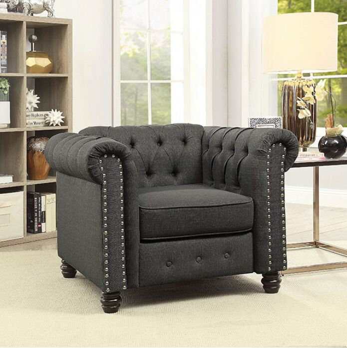 Joice Chesterfield Chair Upholstery: Gray
